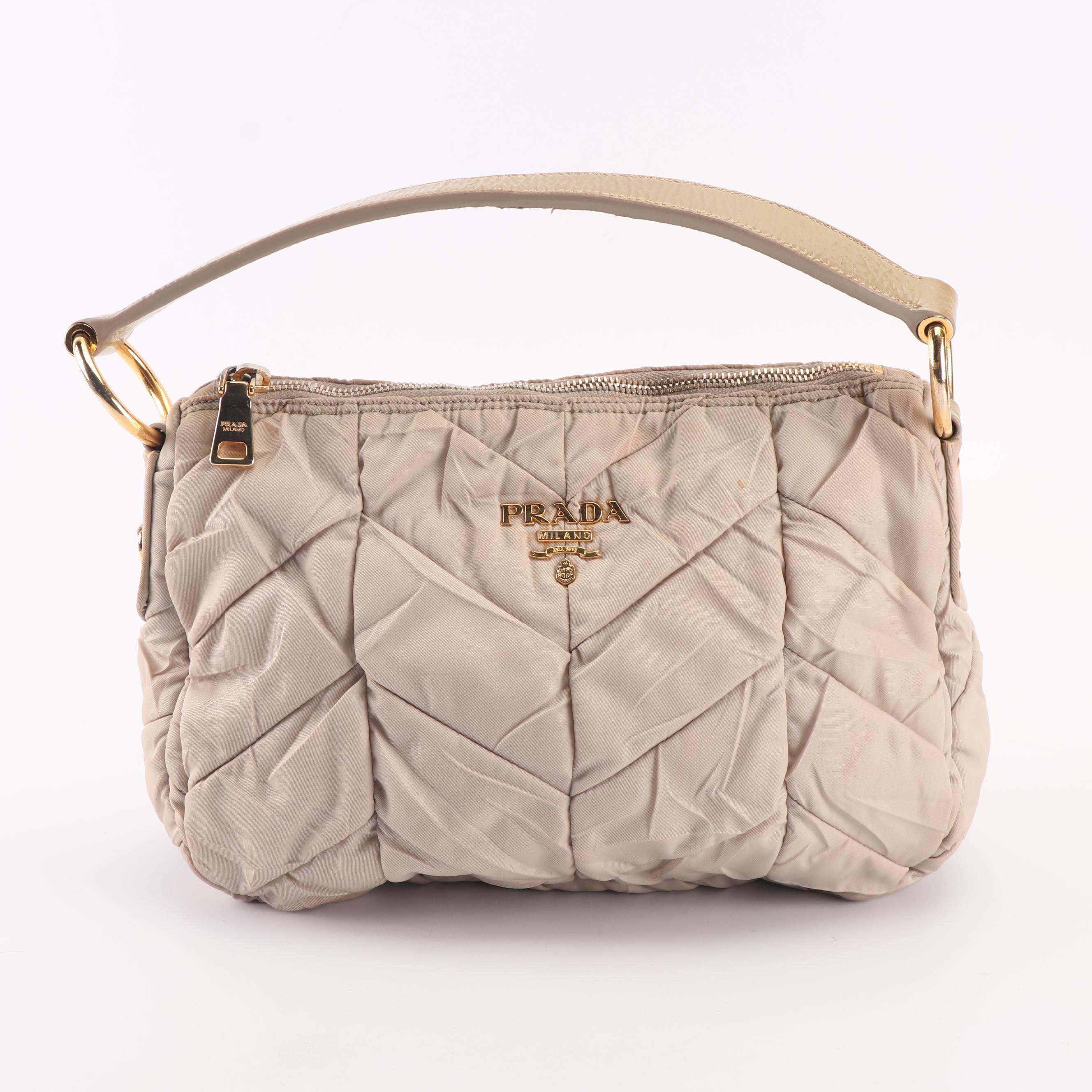 Prada Tessuta Chevron Quilted Tan Nylon Small Hobo Handbag