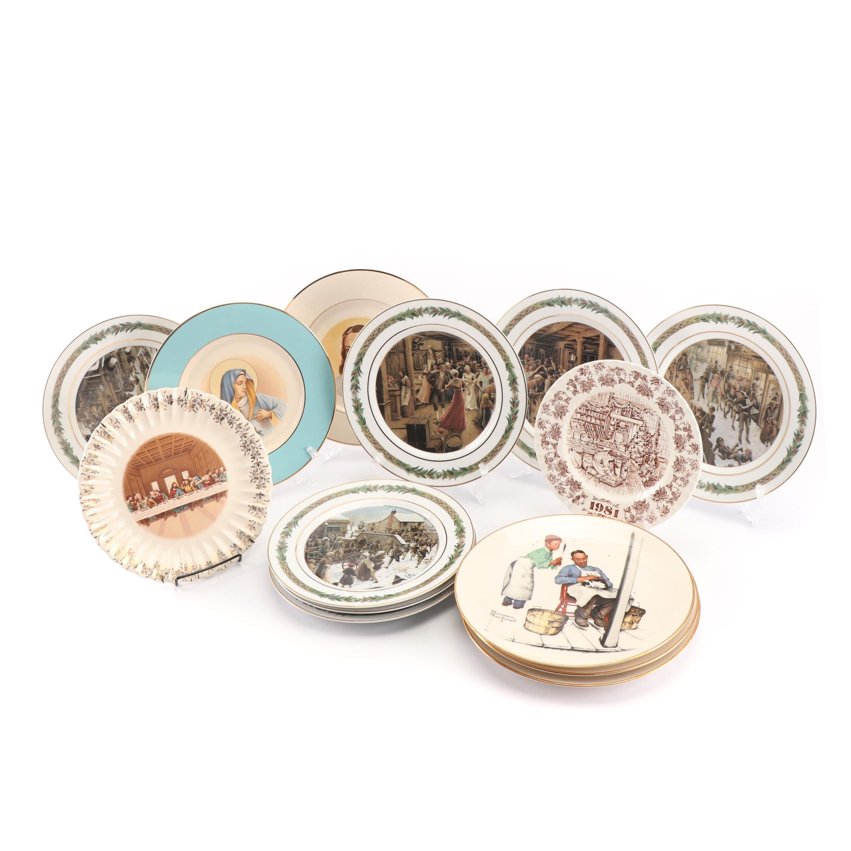 Religious, Christmas and Other Collector Plates, with Gorham Norman Rockwell