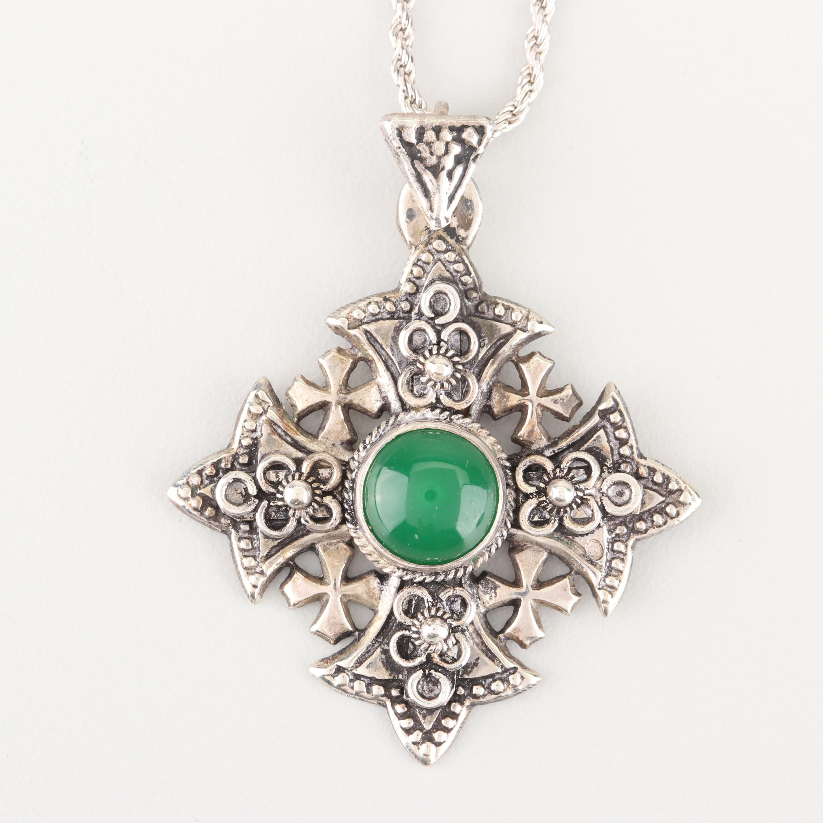 Necklace with Sterling Silver Chain and 900 Silver and Chalcedony Pendant