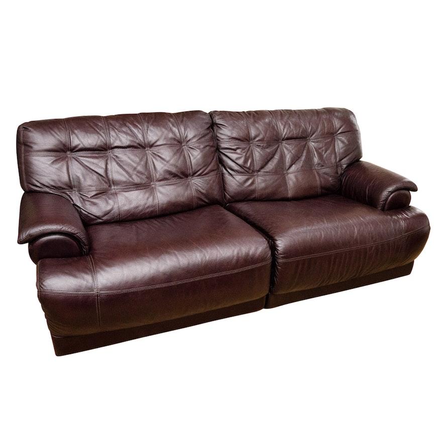 Leggett & Platt Leather Recliner Sofa in Chocolate Brown
