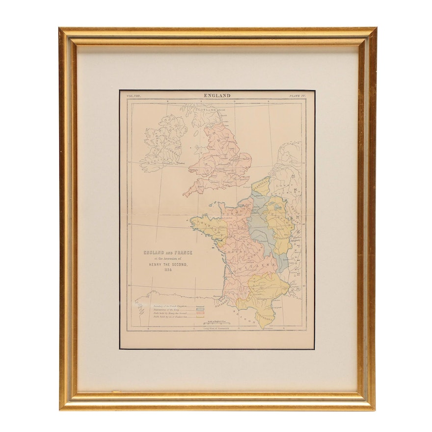 Map Of England To France.Antique Map England And France At The Accession Of Henry The Second