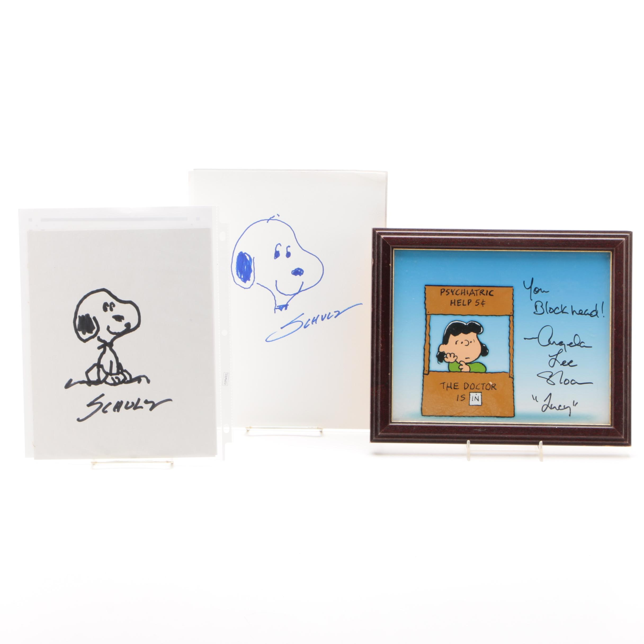 Charles Schulz Autographed Snoopy Sketches with Angela Lee Sloan Autograph