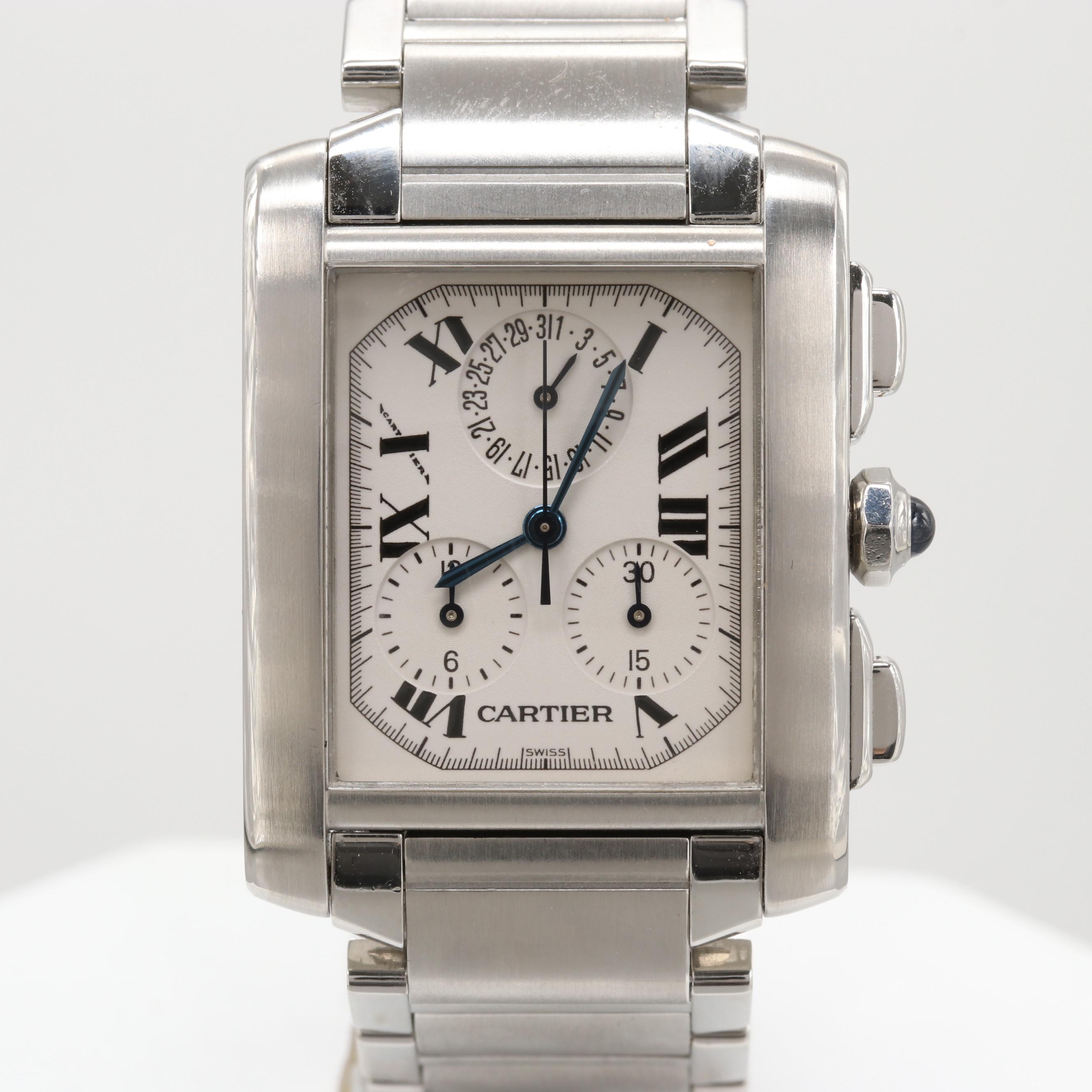 Cartier Tank Francaise Chronoflex Quartz Chronograph Wristwatch