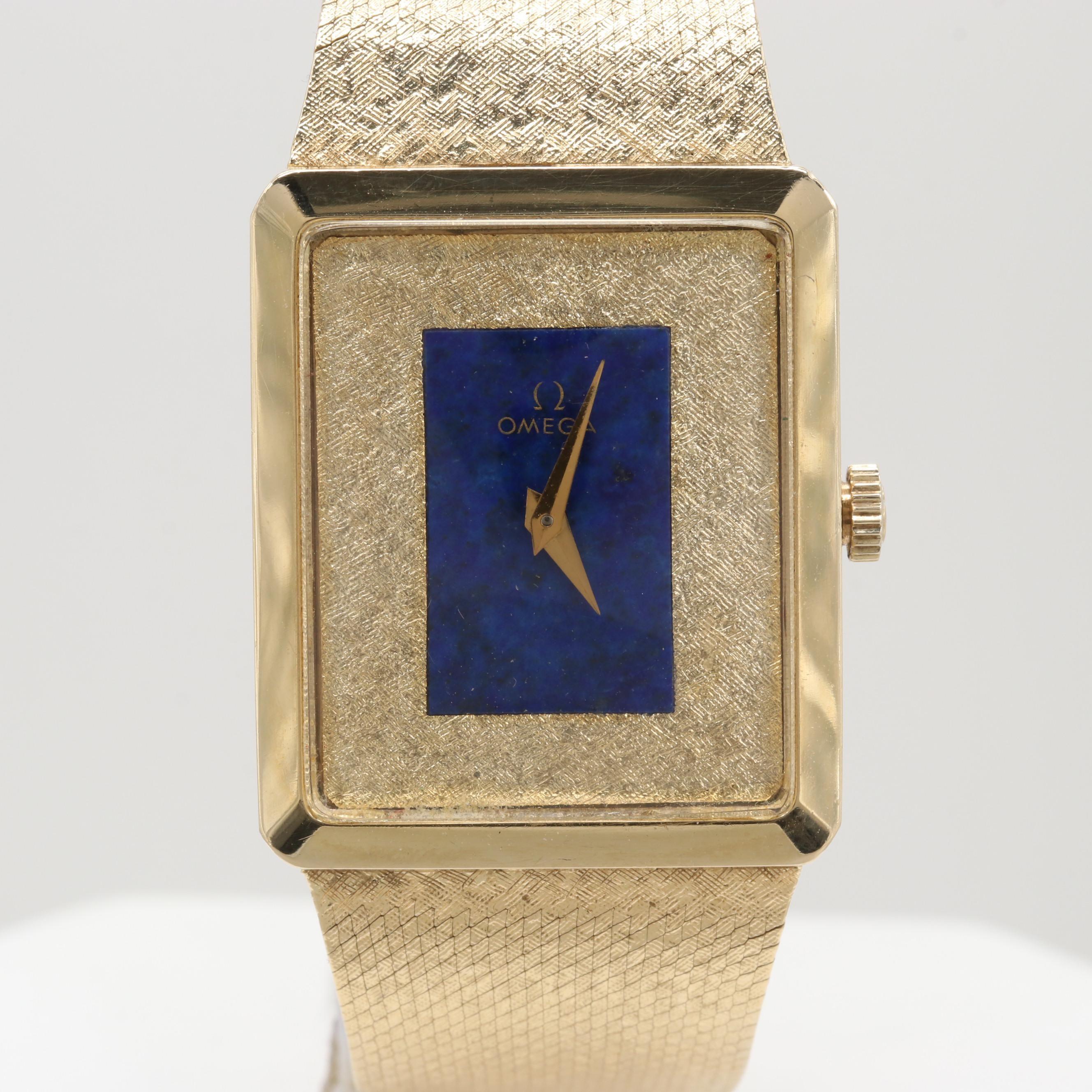 Omega 14K Yellow Gold Manual Winding Lapis Dial Wristwatch