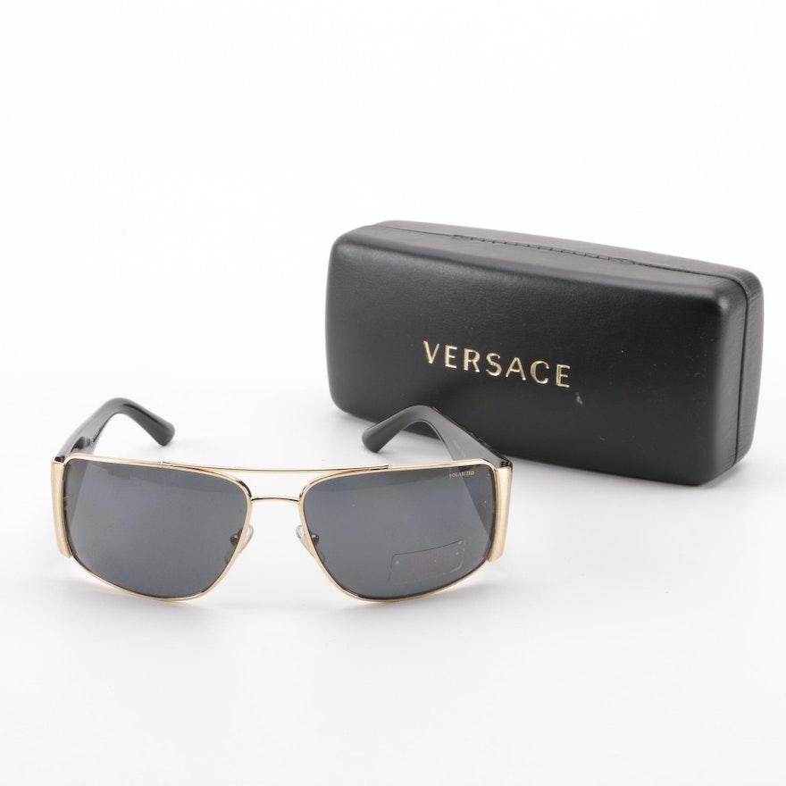 d083e4bc190d Versace Polarized 2163 Black and Gold Tone Sunglasses