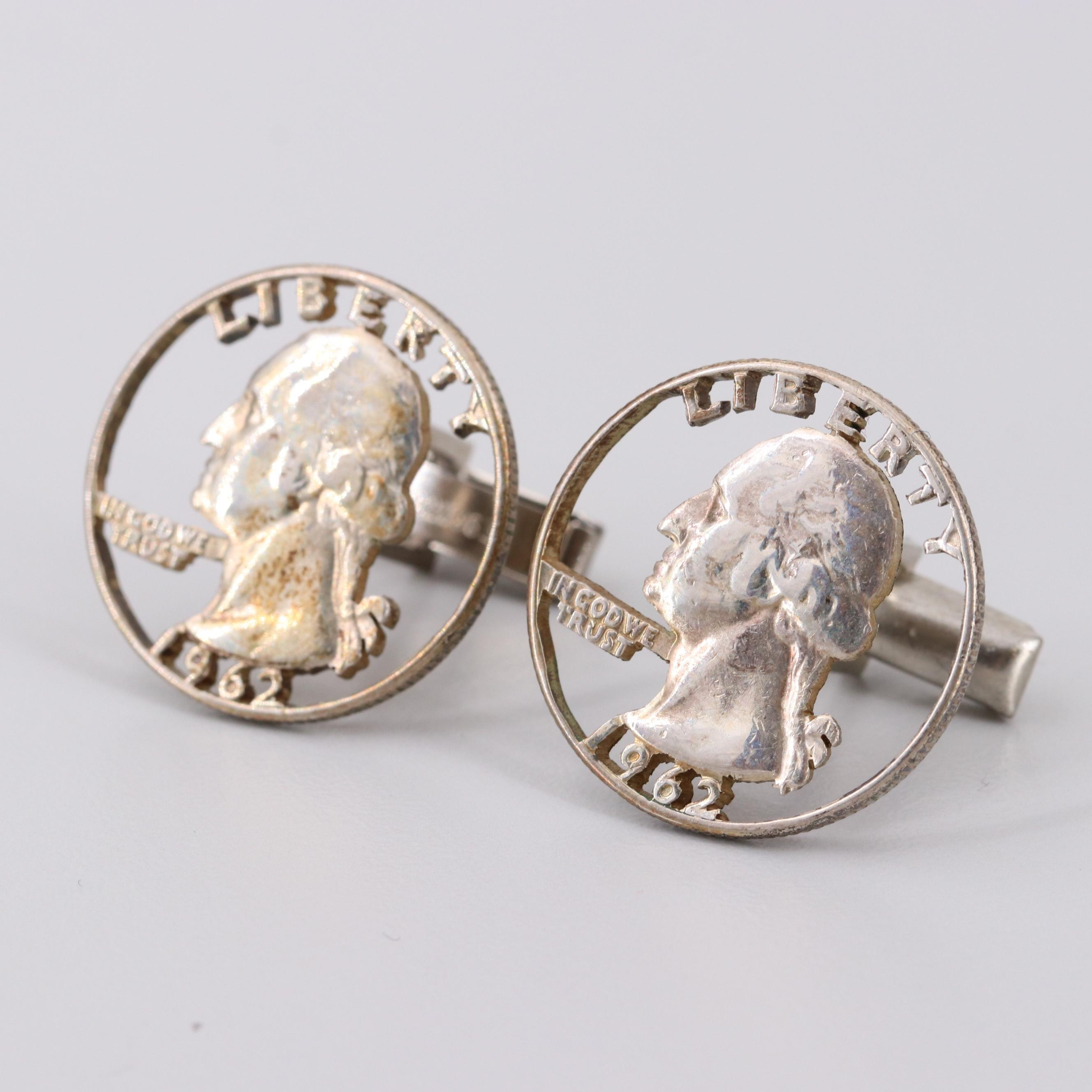 Altered Coin Silver 1962 Washington Quarter Cufflinks