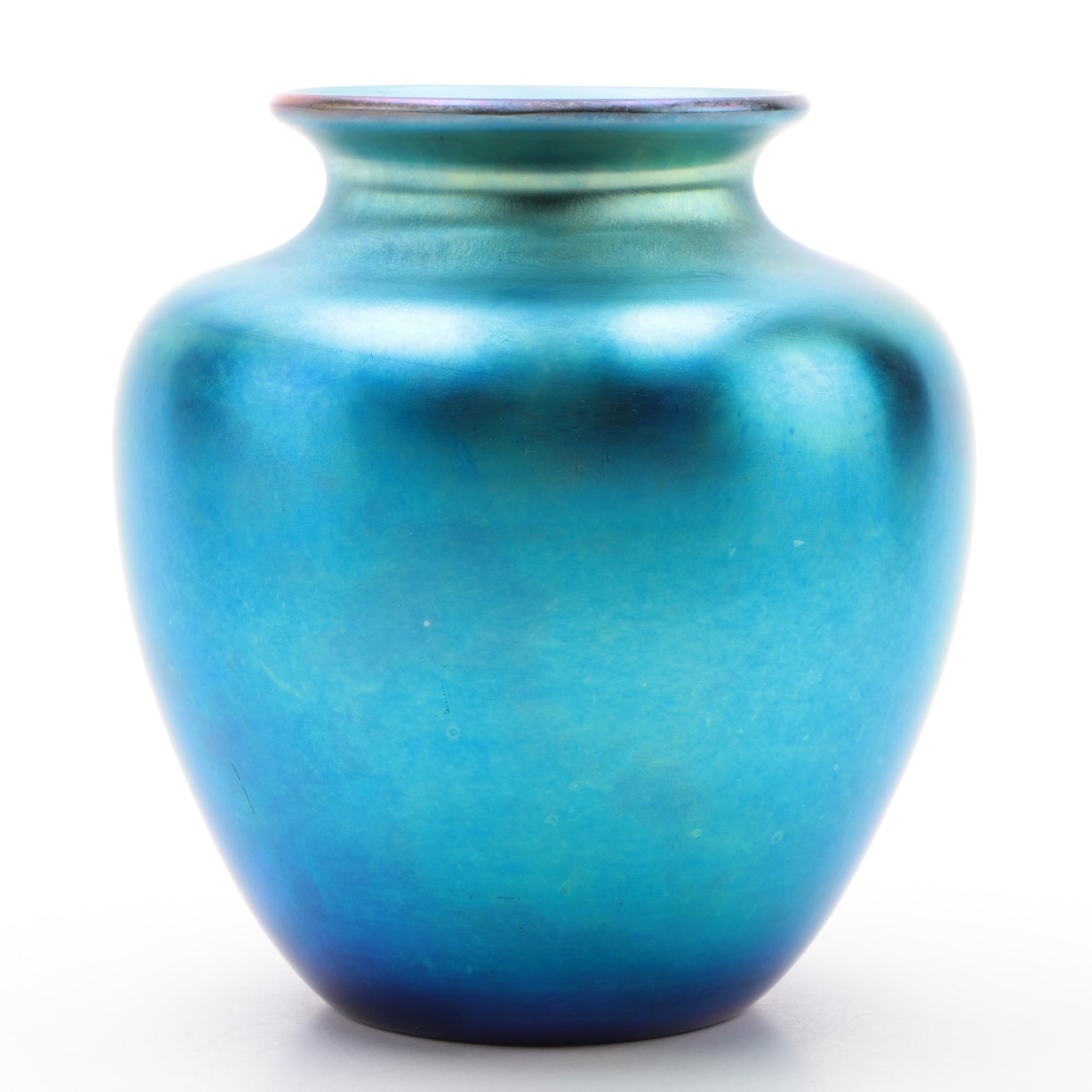 """Steuben Signed Blue """"Aurene"""" Art Glass Vase by Frederick Carder"""