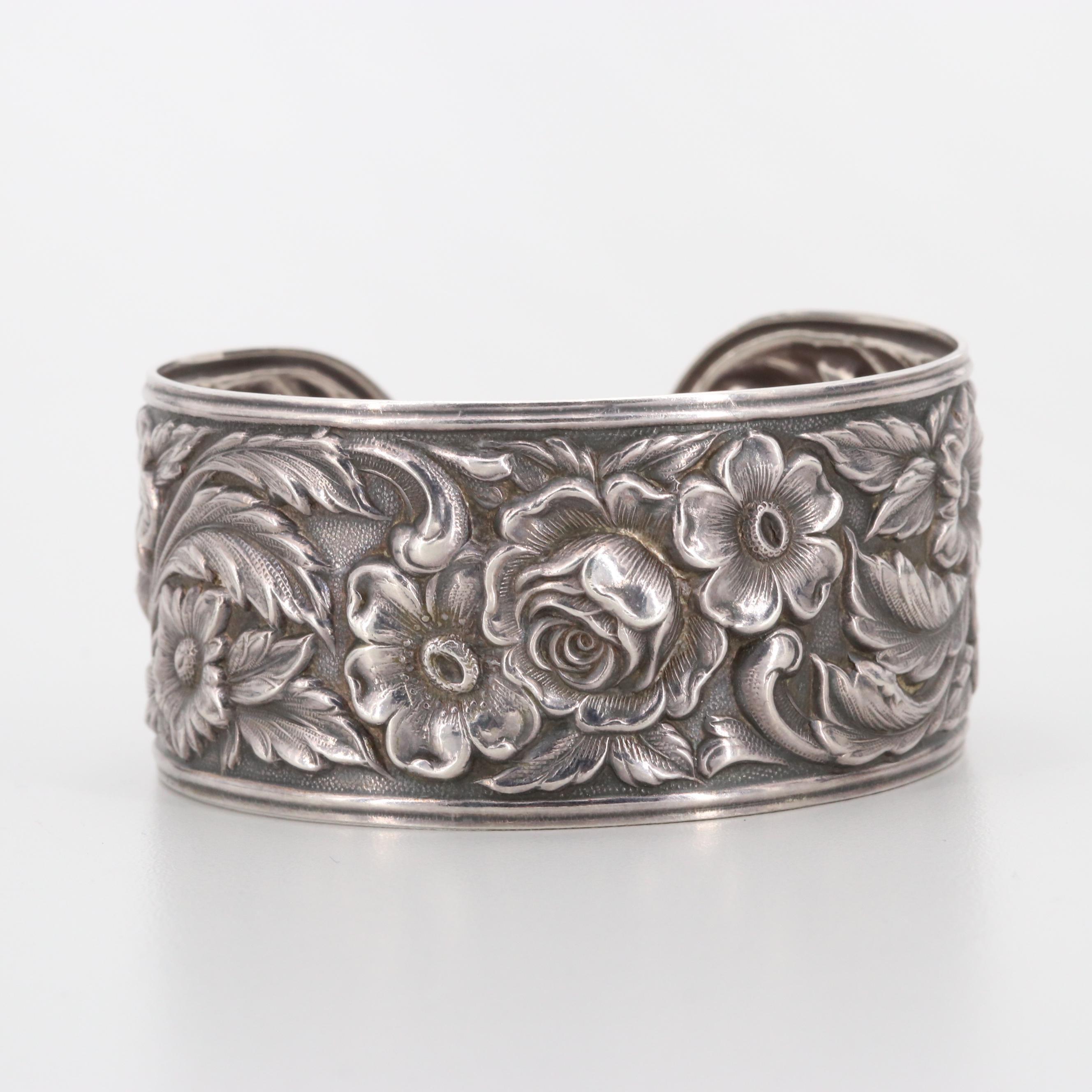 S. Kirk & Son Sterling Silver Cuff Floral Motif Cuff Bracelet