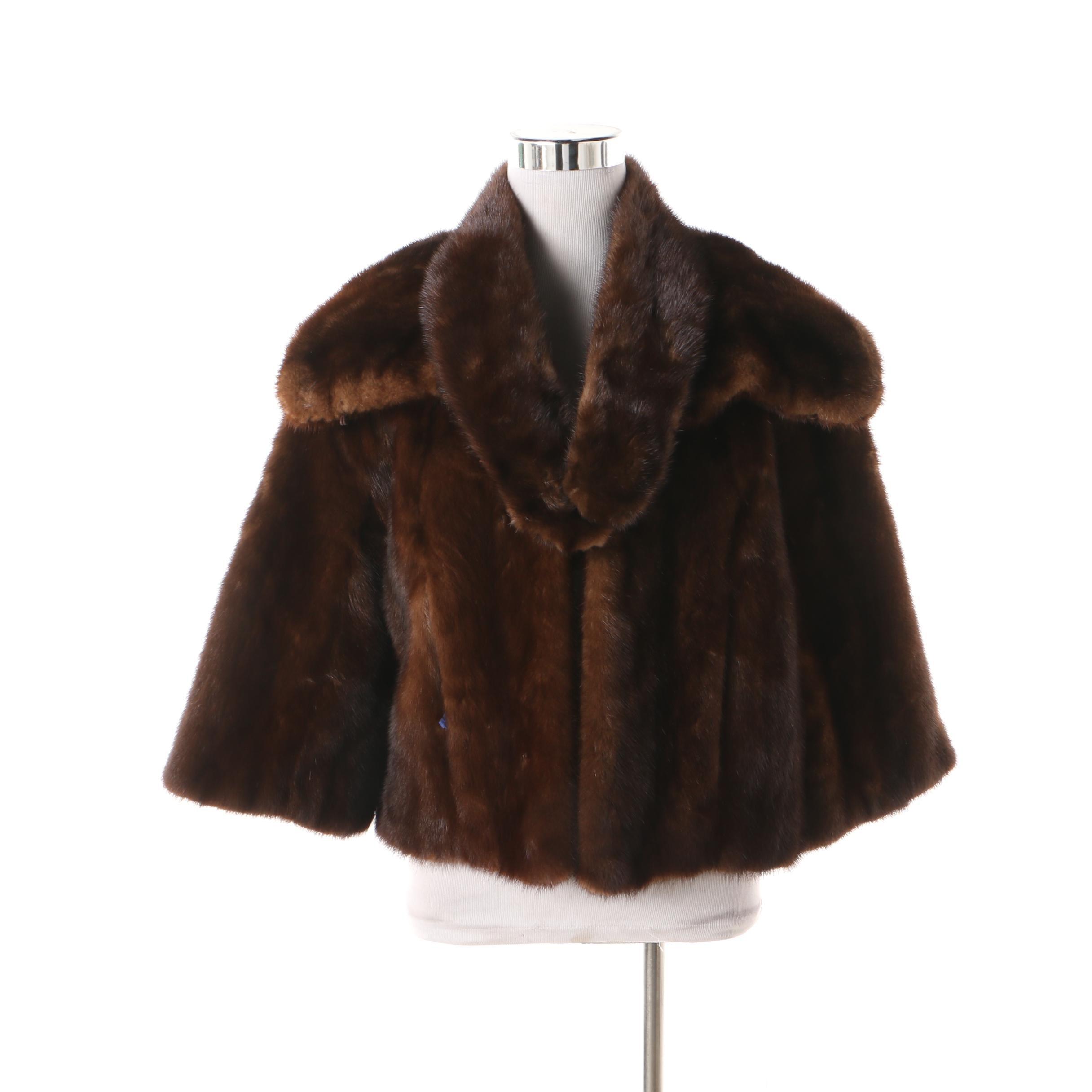 Women's 1960s Vintage Charles Anger & Son Mink Fur Jacket and Mink Fur Collar