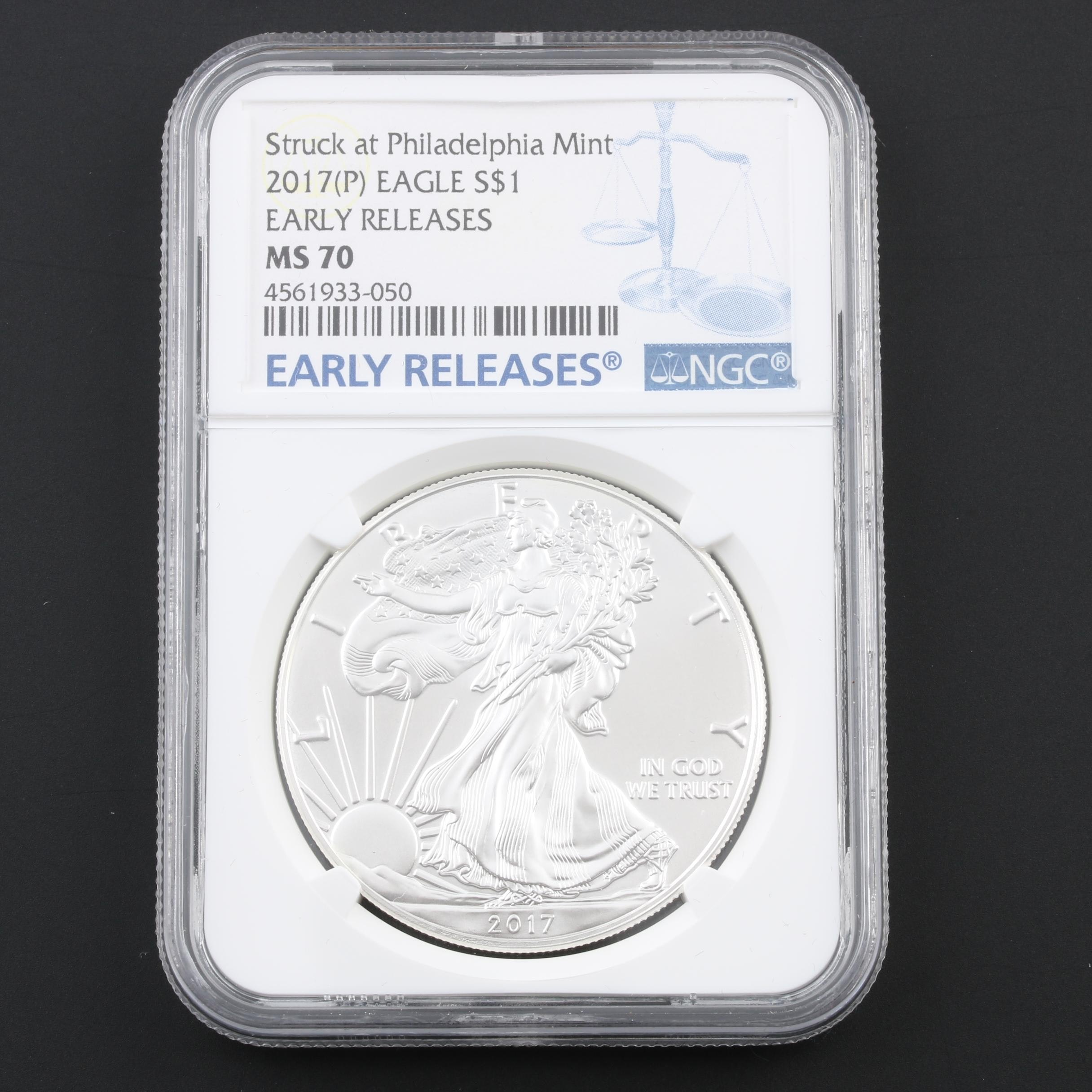 NGC Graded MS70 Early Releases 2017-P Silver Eagle $1 Coin