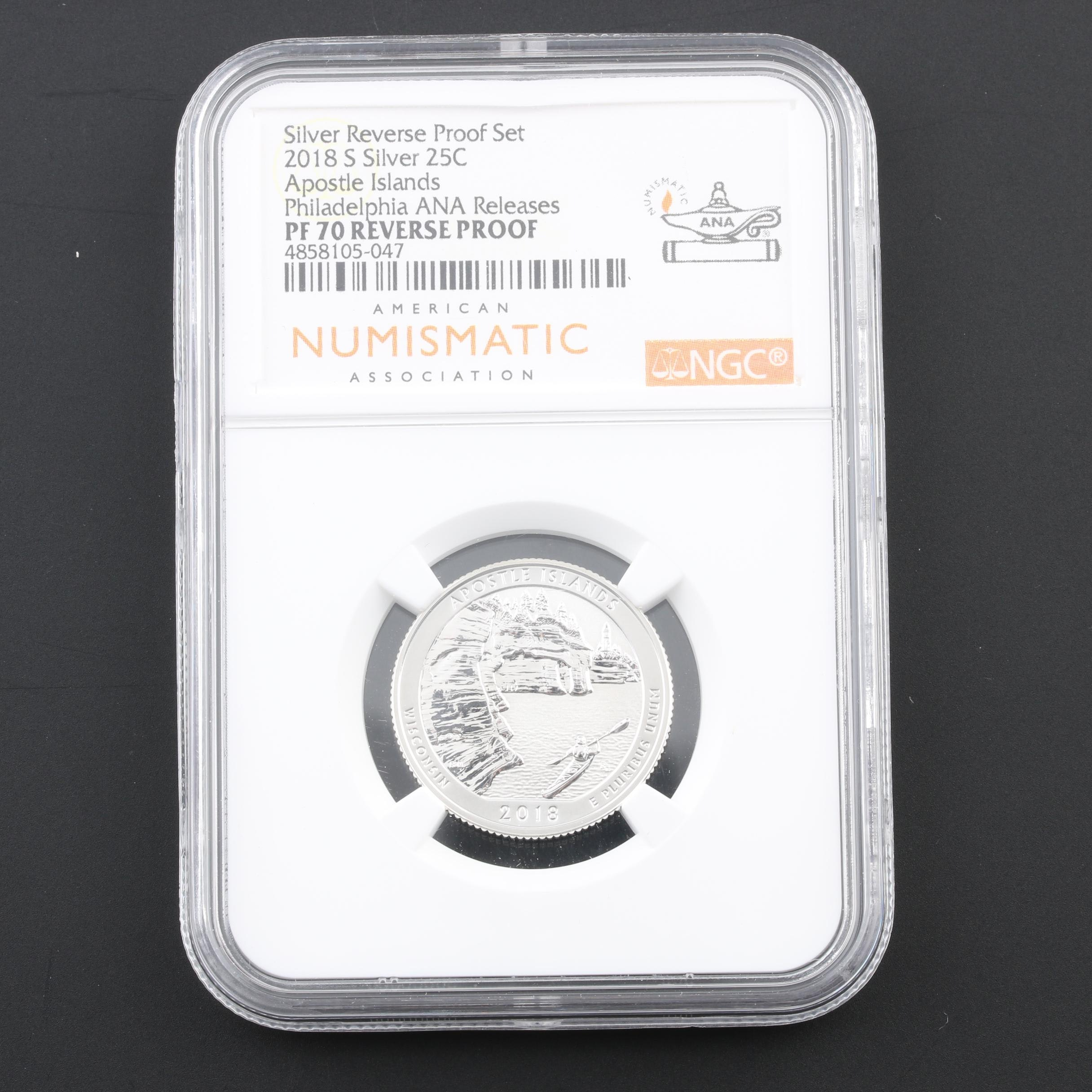 NGC Graded PF 70 Reverse Silver Proof 2018-S Apostle Islands Quarter