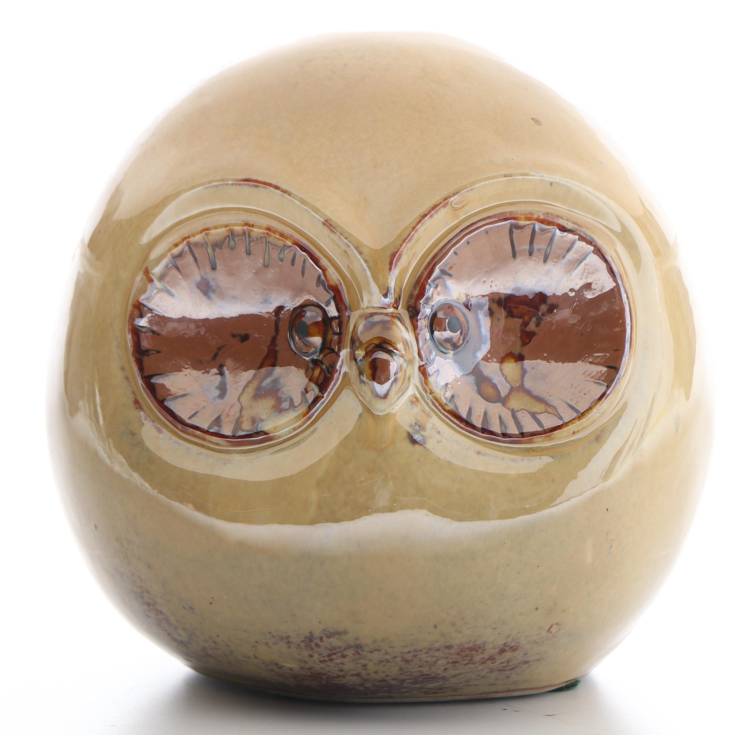 Mid-Century Earthenware Glazed Pottery Owl
