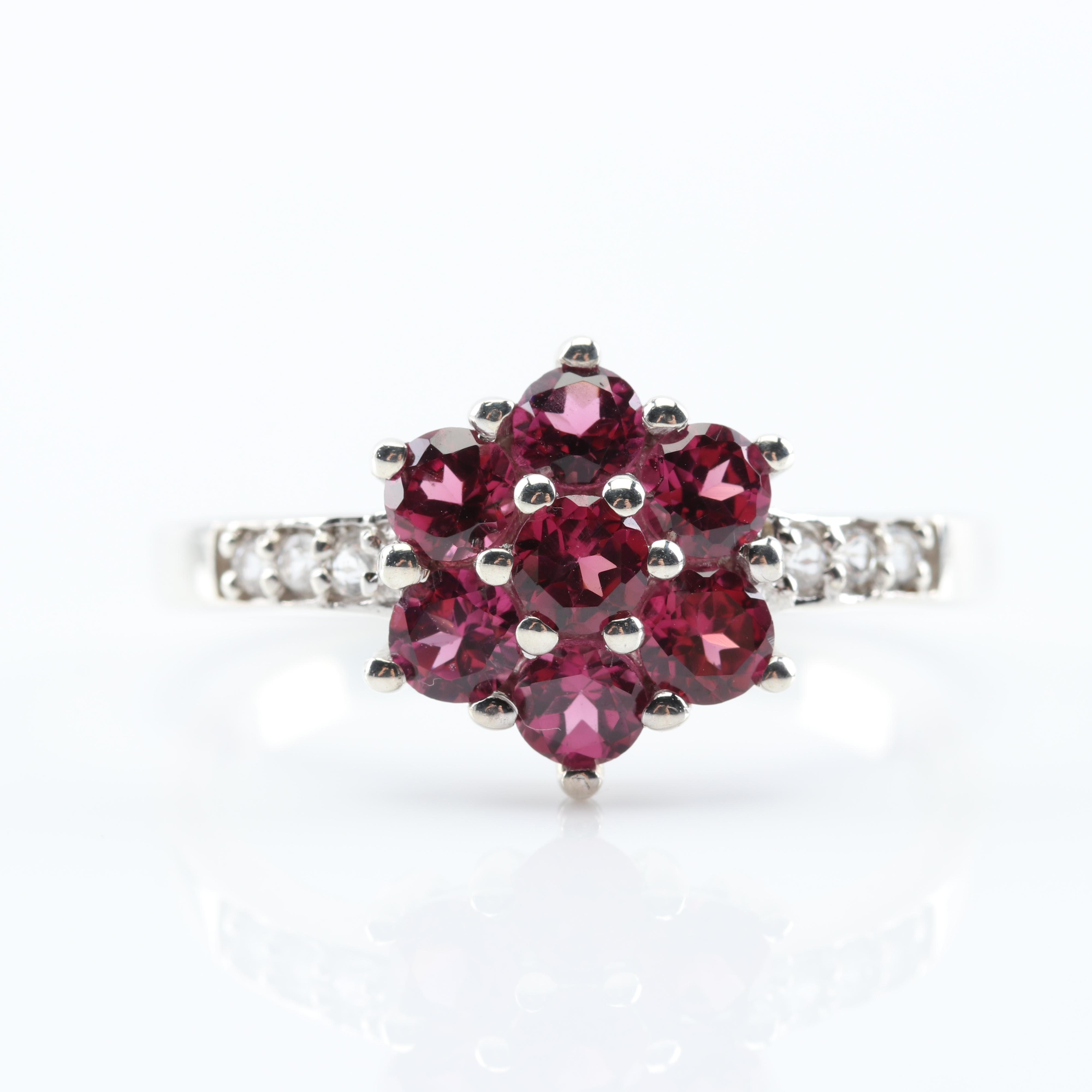 Sterling Silver 1.61 CTW Garnet and White Topaz Ring