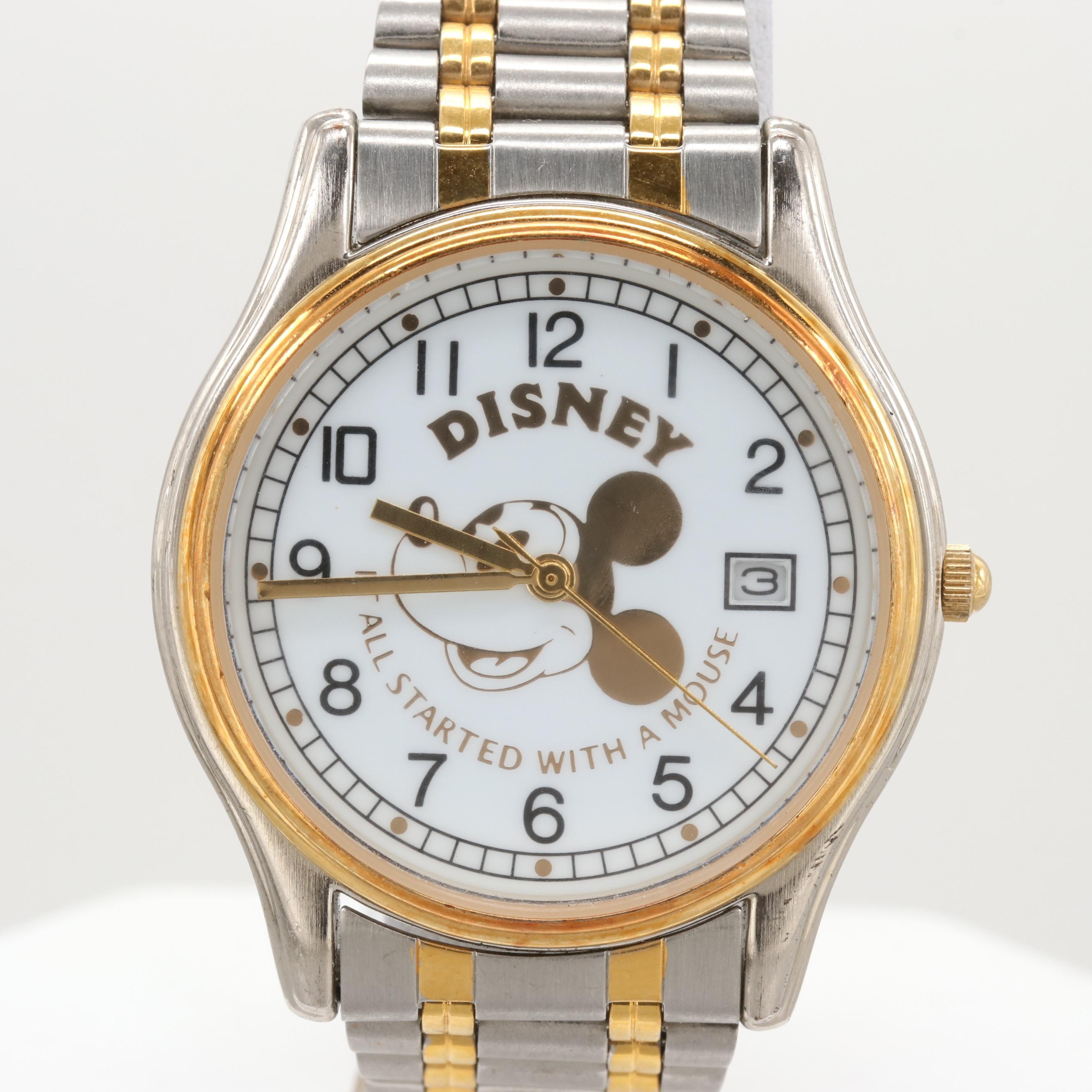 Disney Two Tone Stainless Steel Mickey Mouse Wristwatch