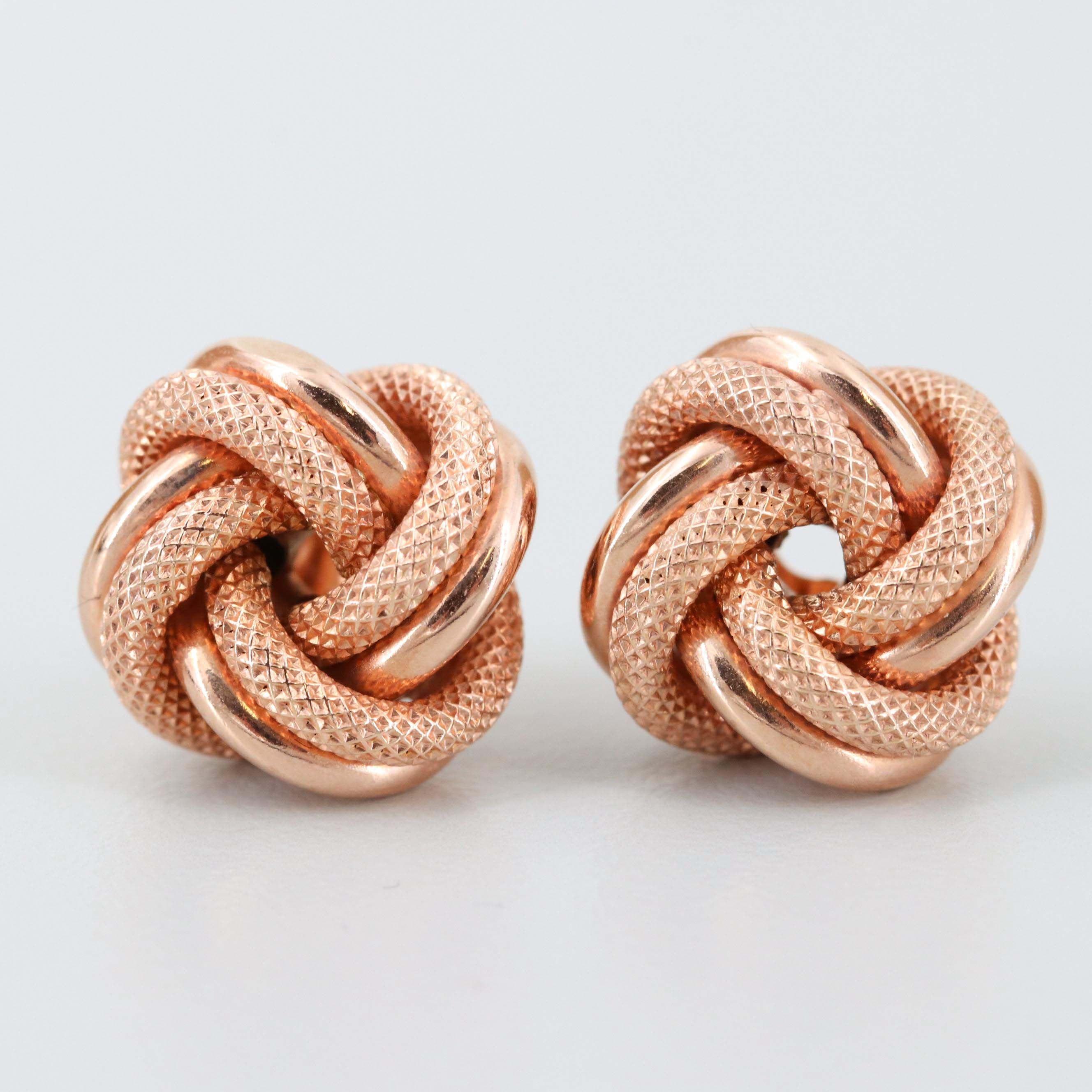 Italian 18K Rose Gold Knot Earrings