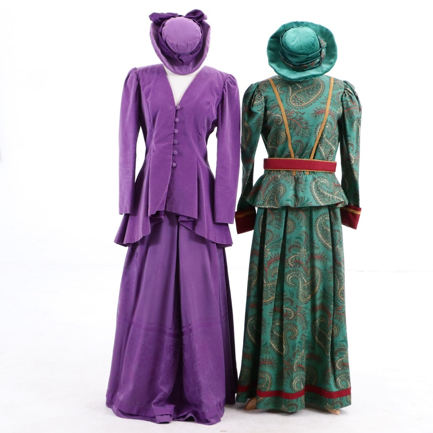 Vintage Costume Ensembles with Matching Hats