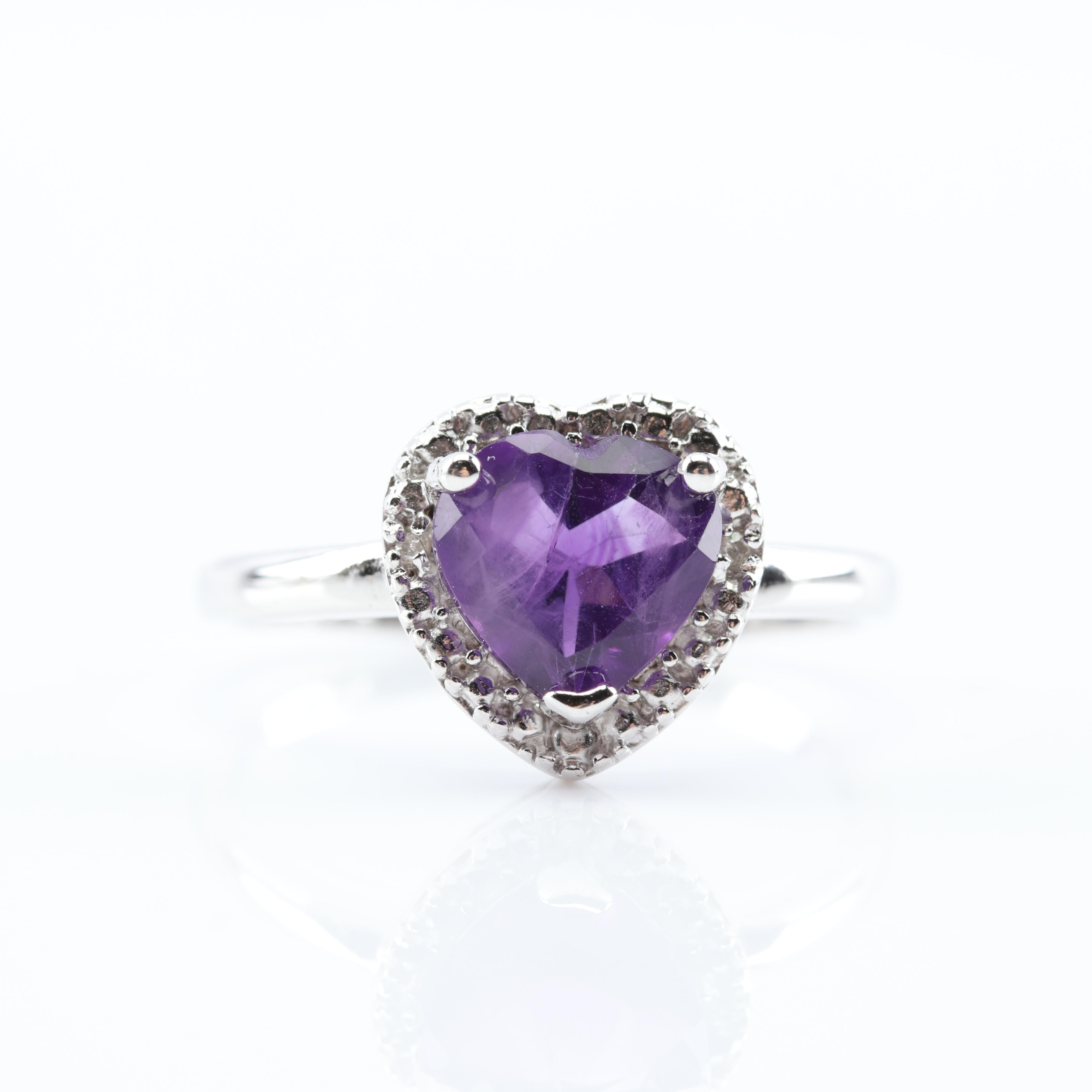 Sterling Silver 1.38 CT Amethyst and Diamond Ring