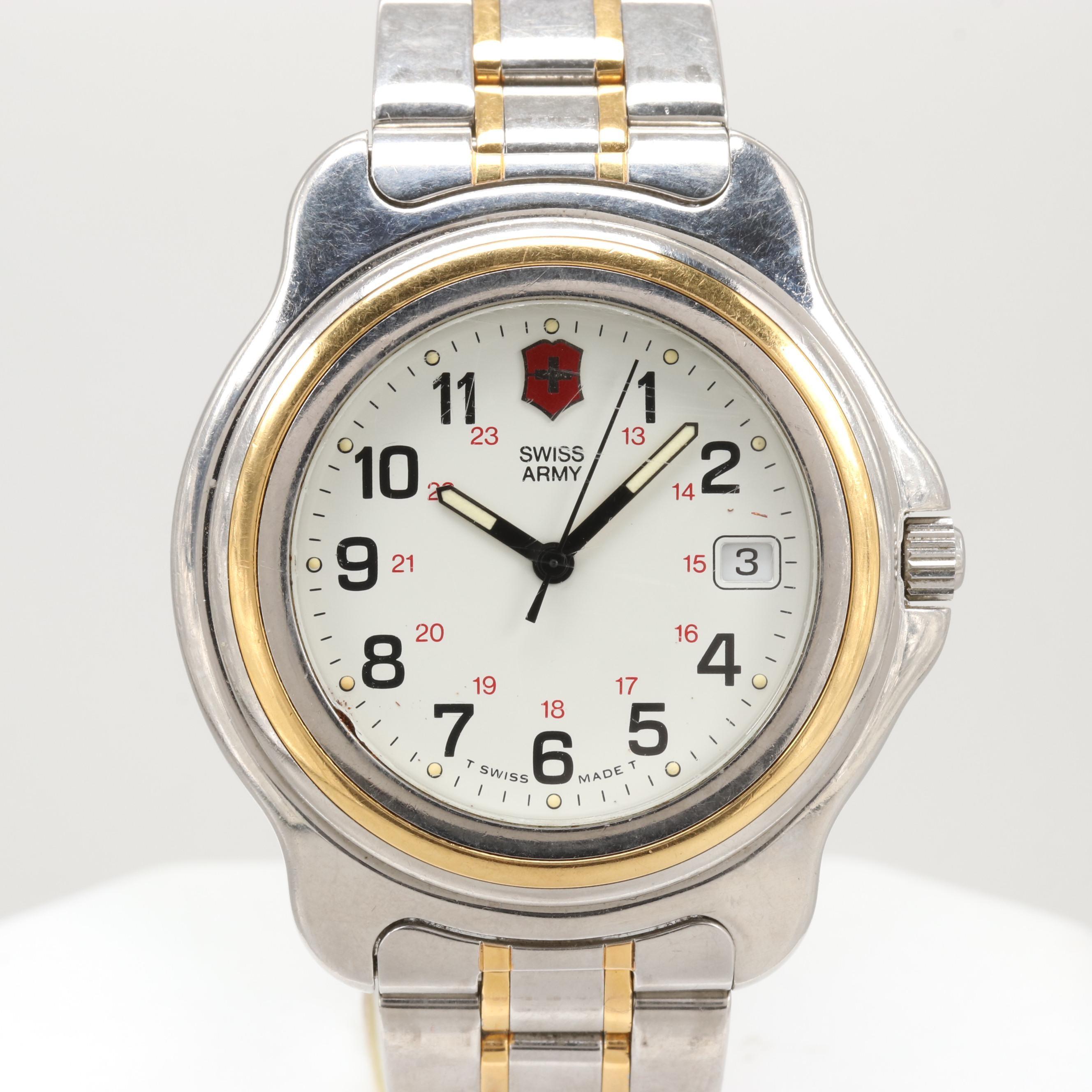 Swiss Army Two Tone Stainless Steel Wristwatch With Date Window