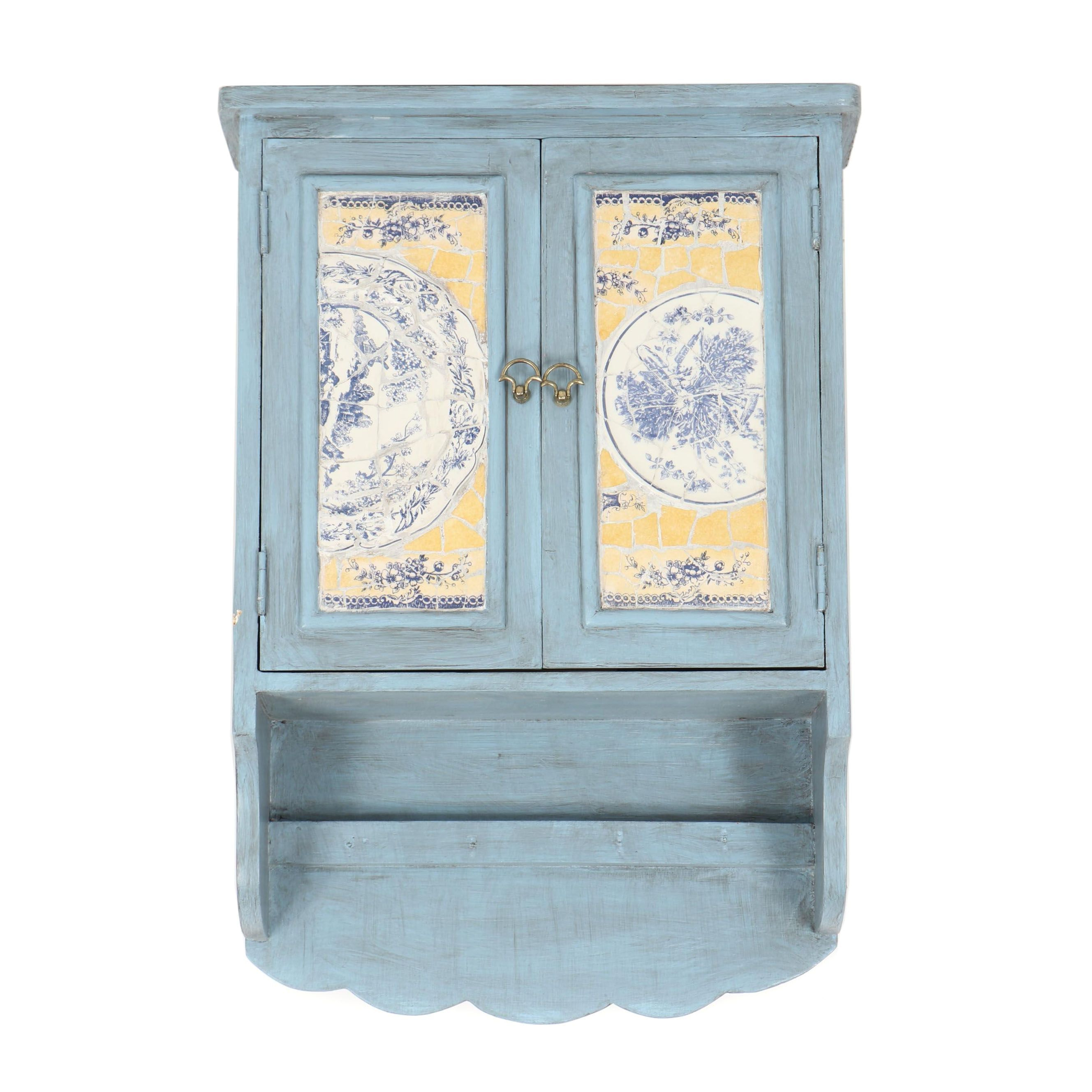 Antiqued Wood Wall Cabinet with China Plate Mosaic Doors
