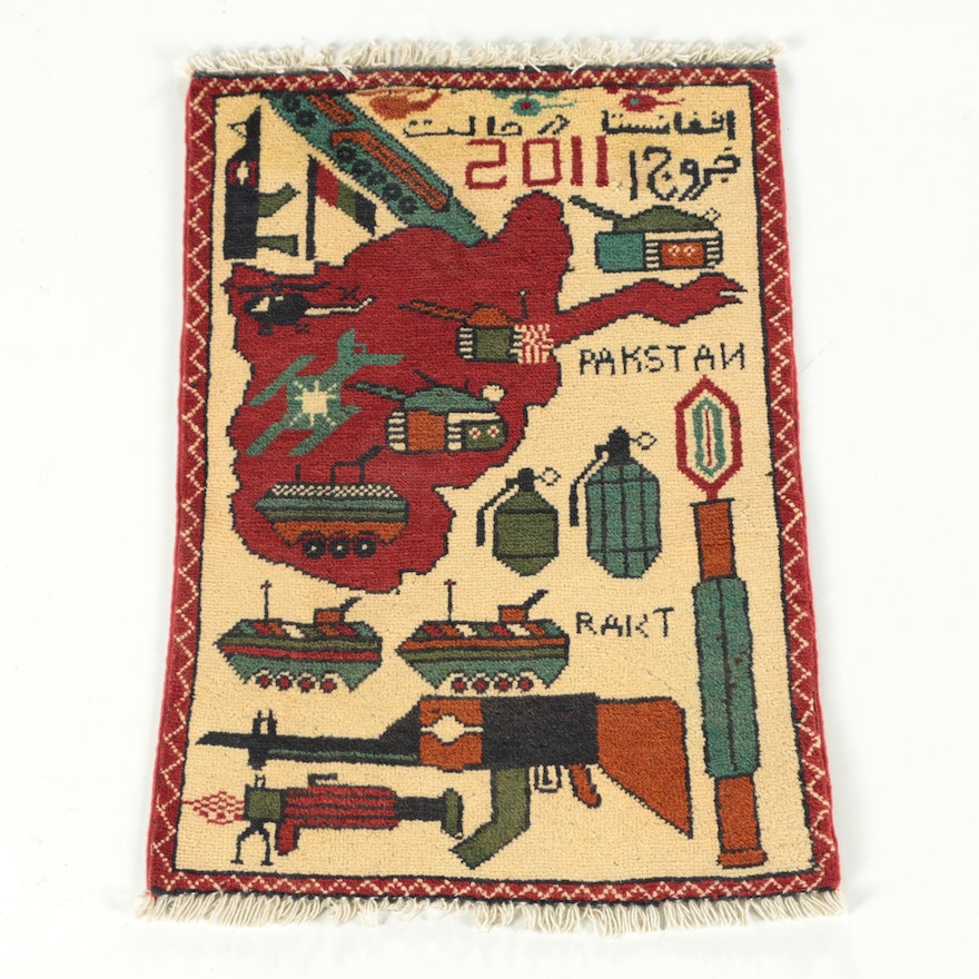 """Hand-Knotted Afghan """"War"""" Pictorial Wool Accent Rug"""