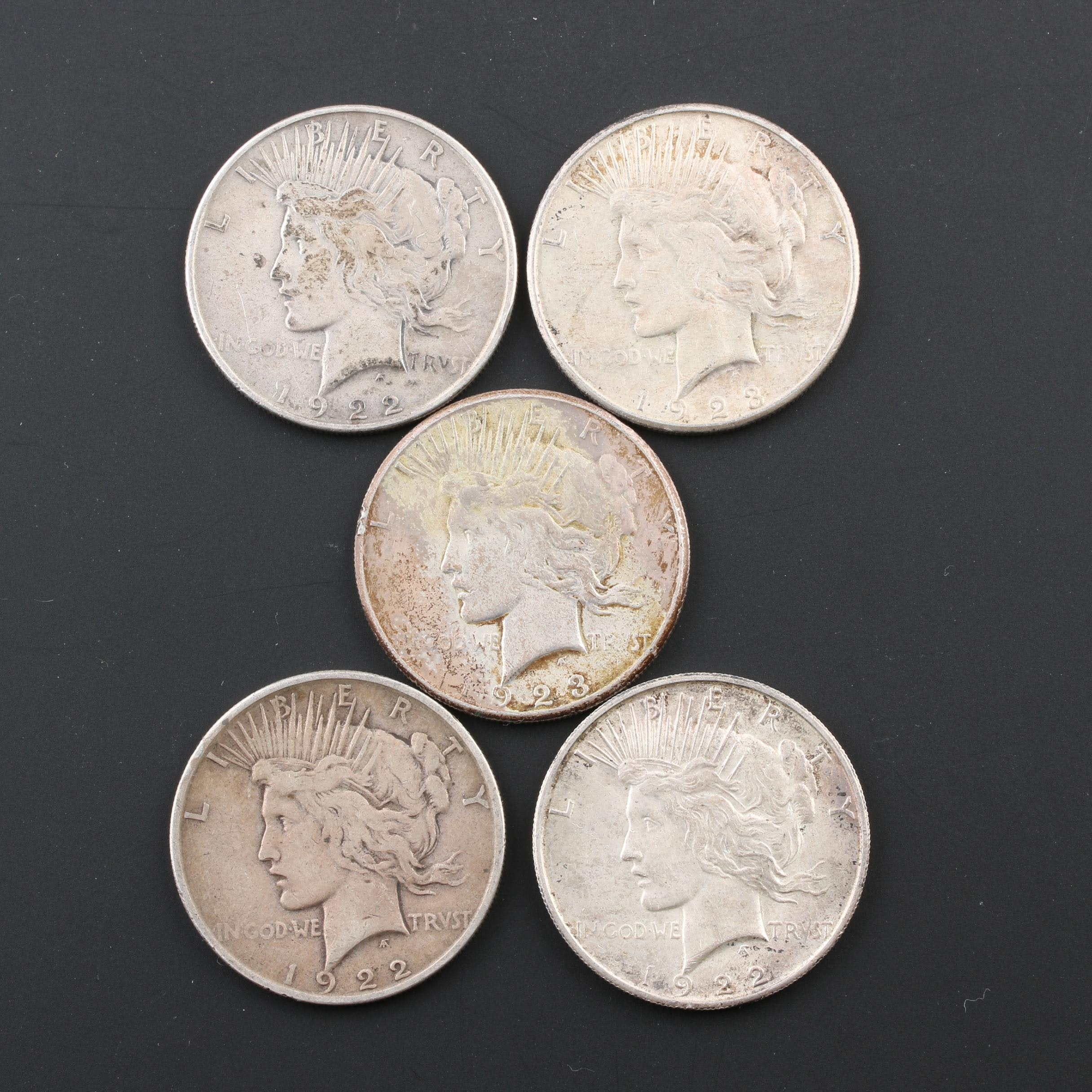Group of Five Peace Silver Dollars