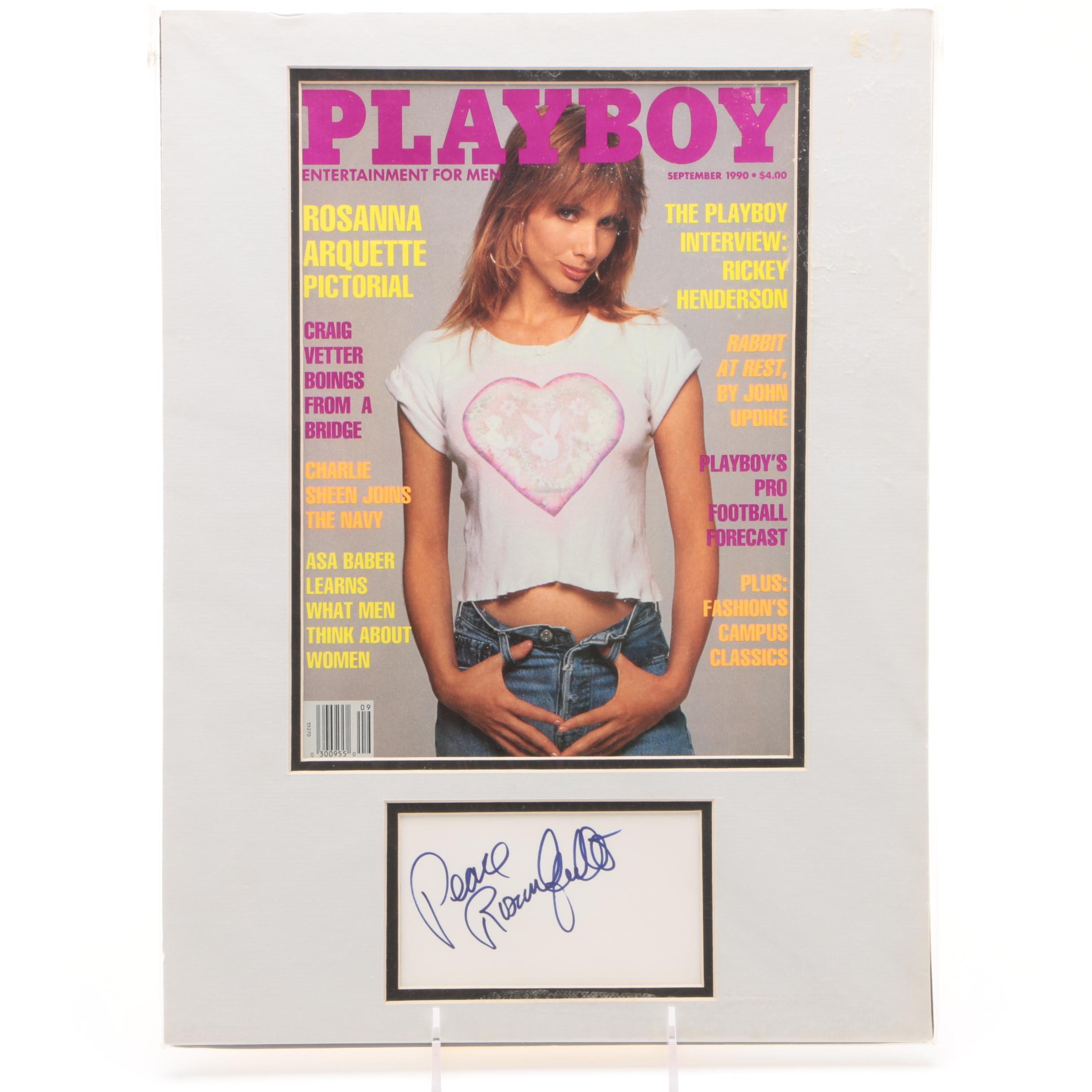 """Rosanna Arquette Autographed """"Playboy"""" Cover"""