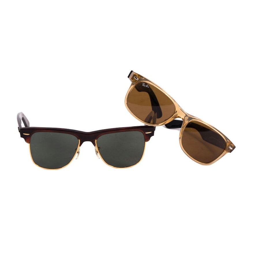 df84394502 Pair of Vintage and Contemporary Ray-Ban Wafayer and New Wayfarer Sunglasses    EBTH