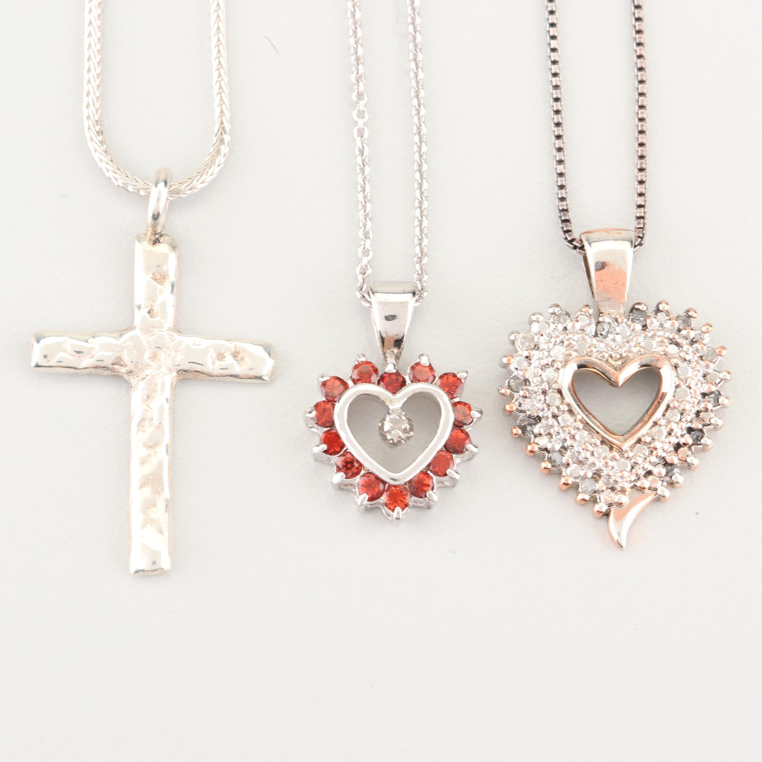 Sterling Silver Diamond and Garnet Pendant Necklaces