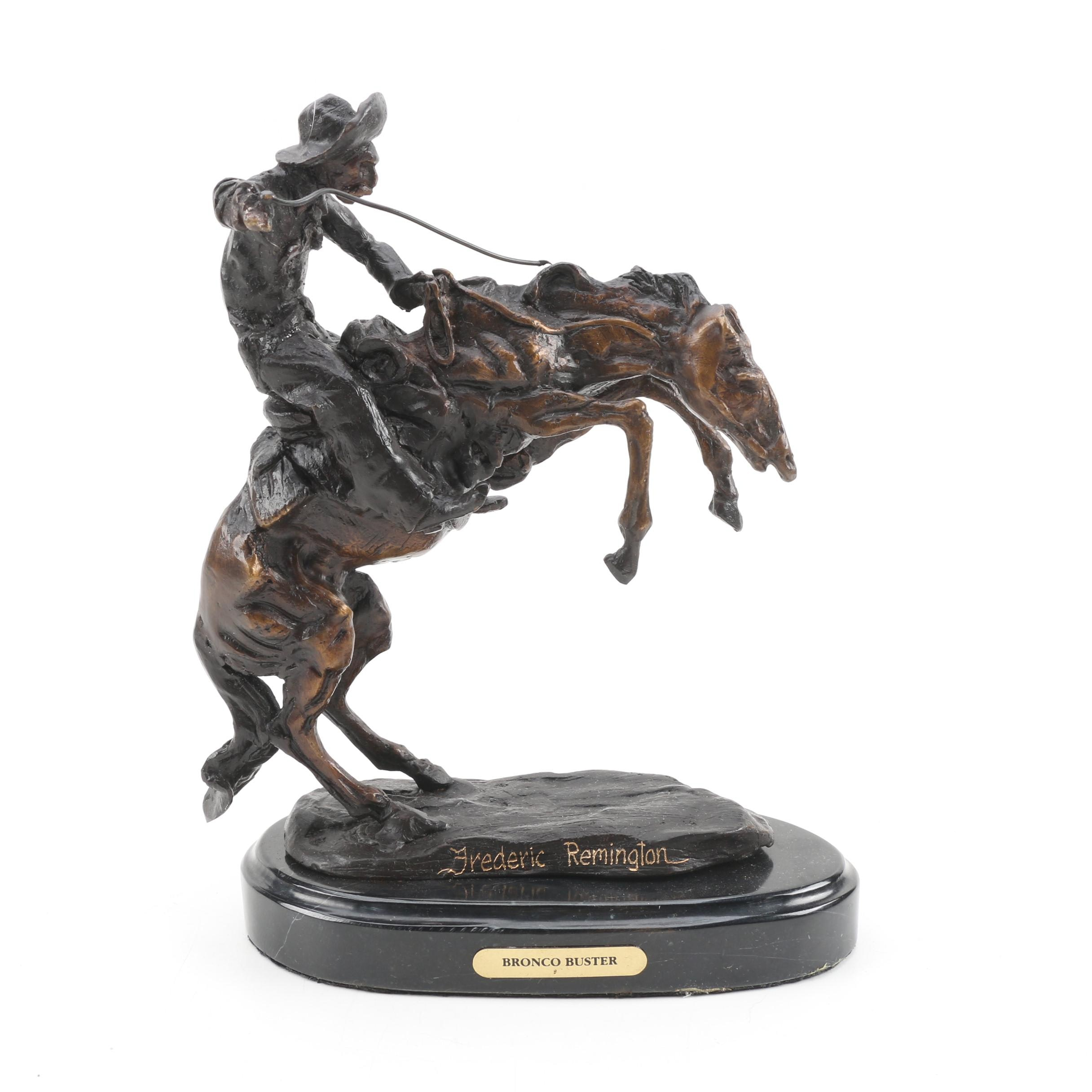 "Cast Bronze Sculpture After Frederick Remington ""Bronco Buster"""