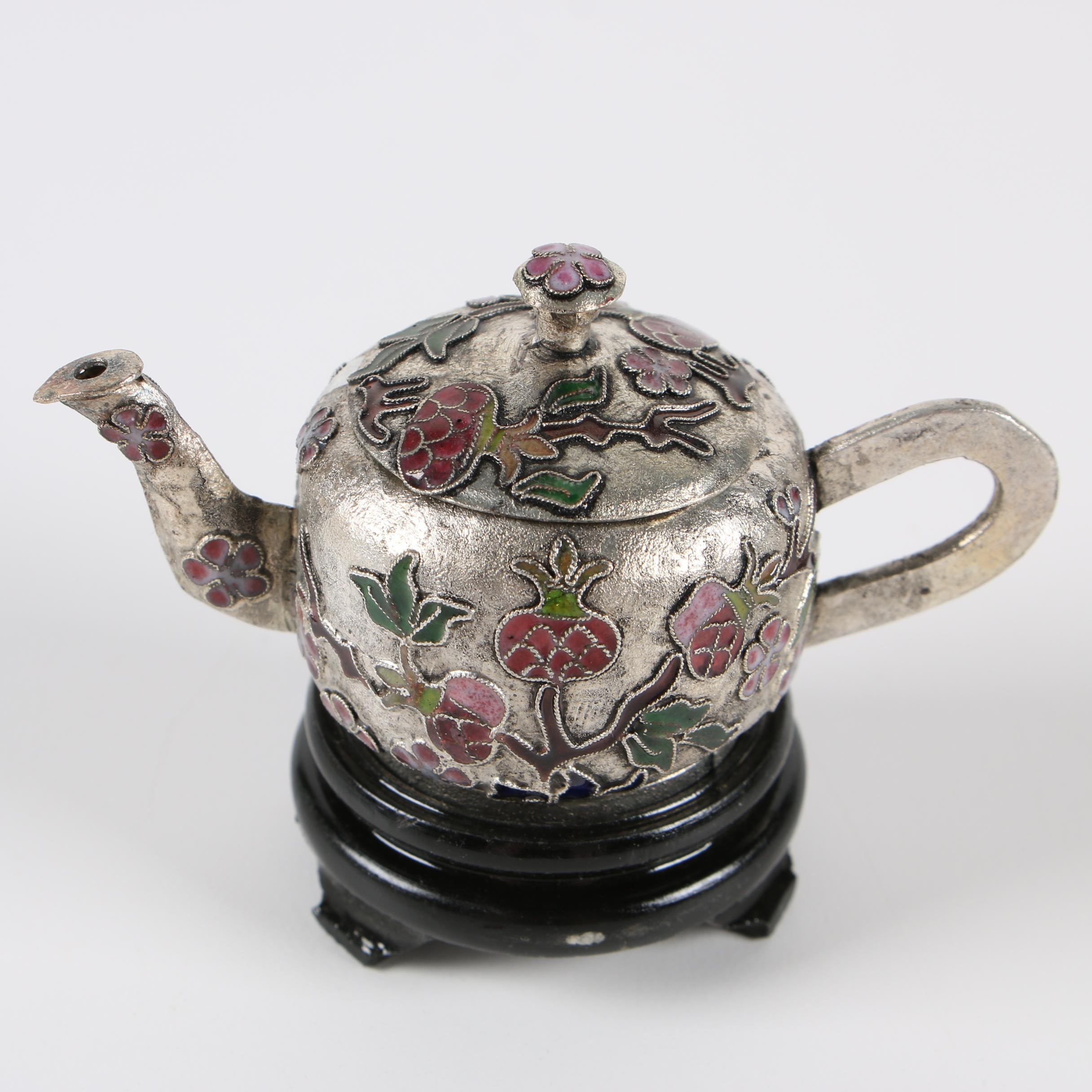 Chinese Cloisonné Miniature Teapot on Wood Stand