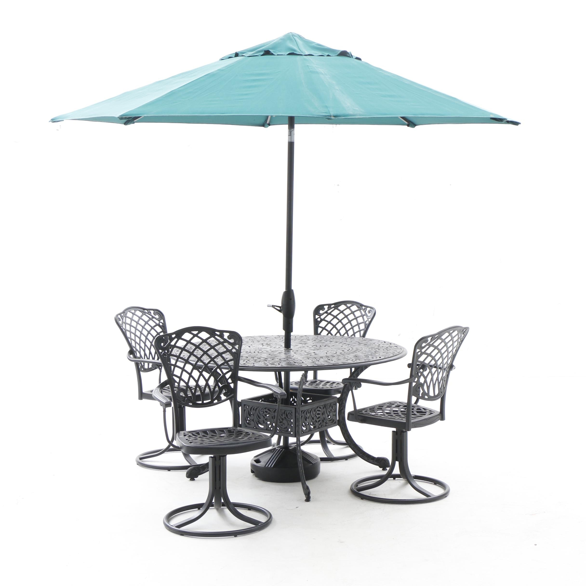 Outdoor Lifestyle Patio Dining Table, Umbrella, and Swivel Armchairs