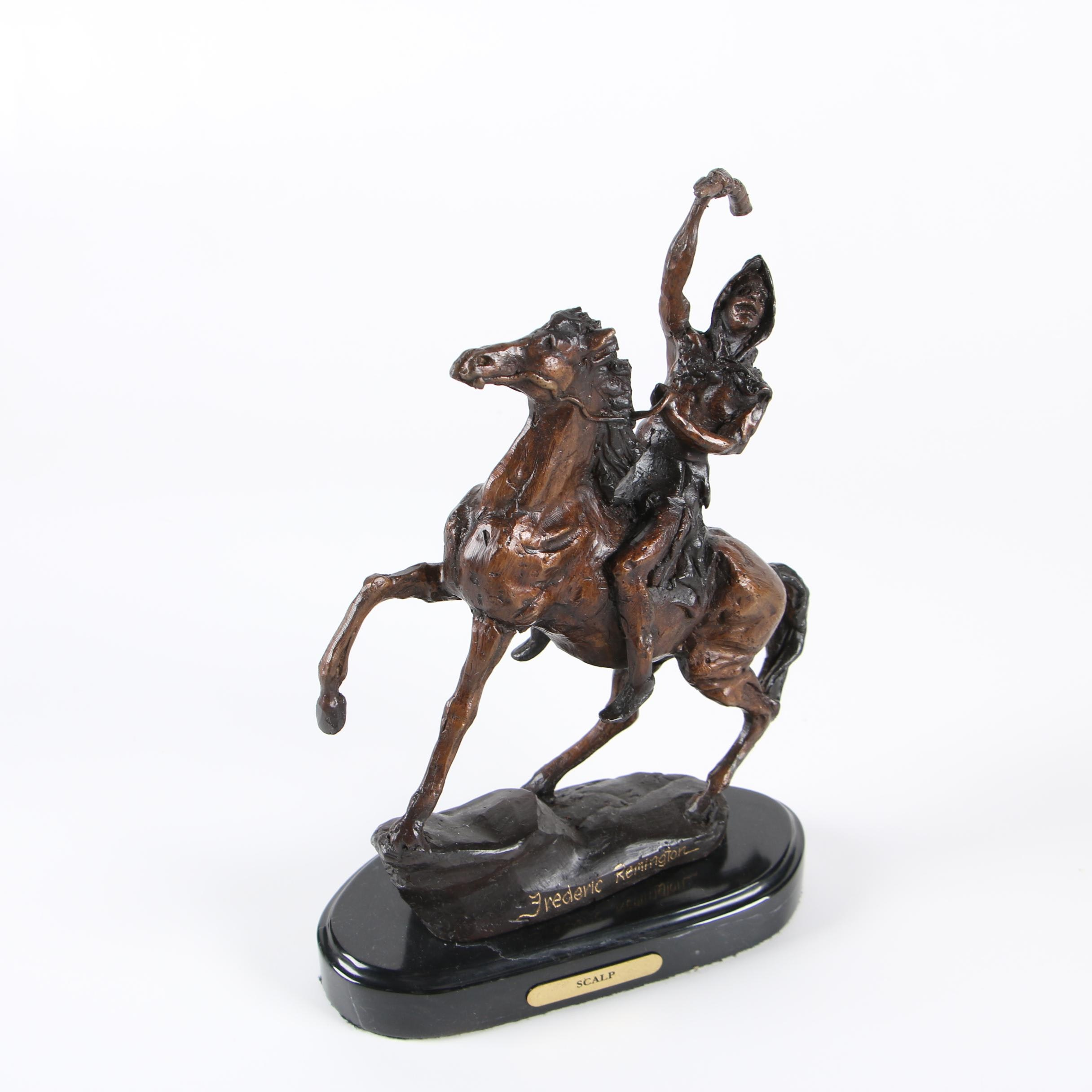 "Cast Bronze Sculpture After Frederick Remington ""Scalp"""
