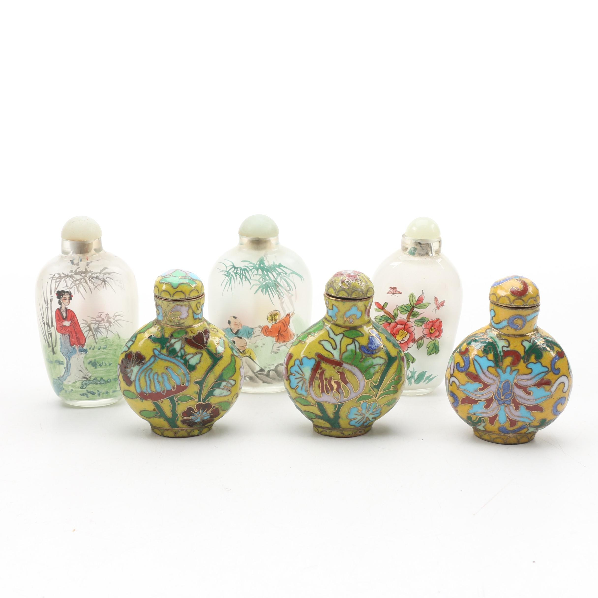 Chinese Reverse Painted and Cloisonné Snuff Bottles