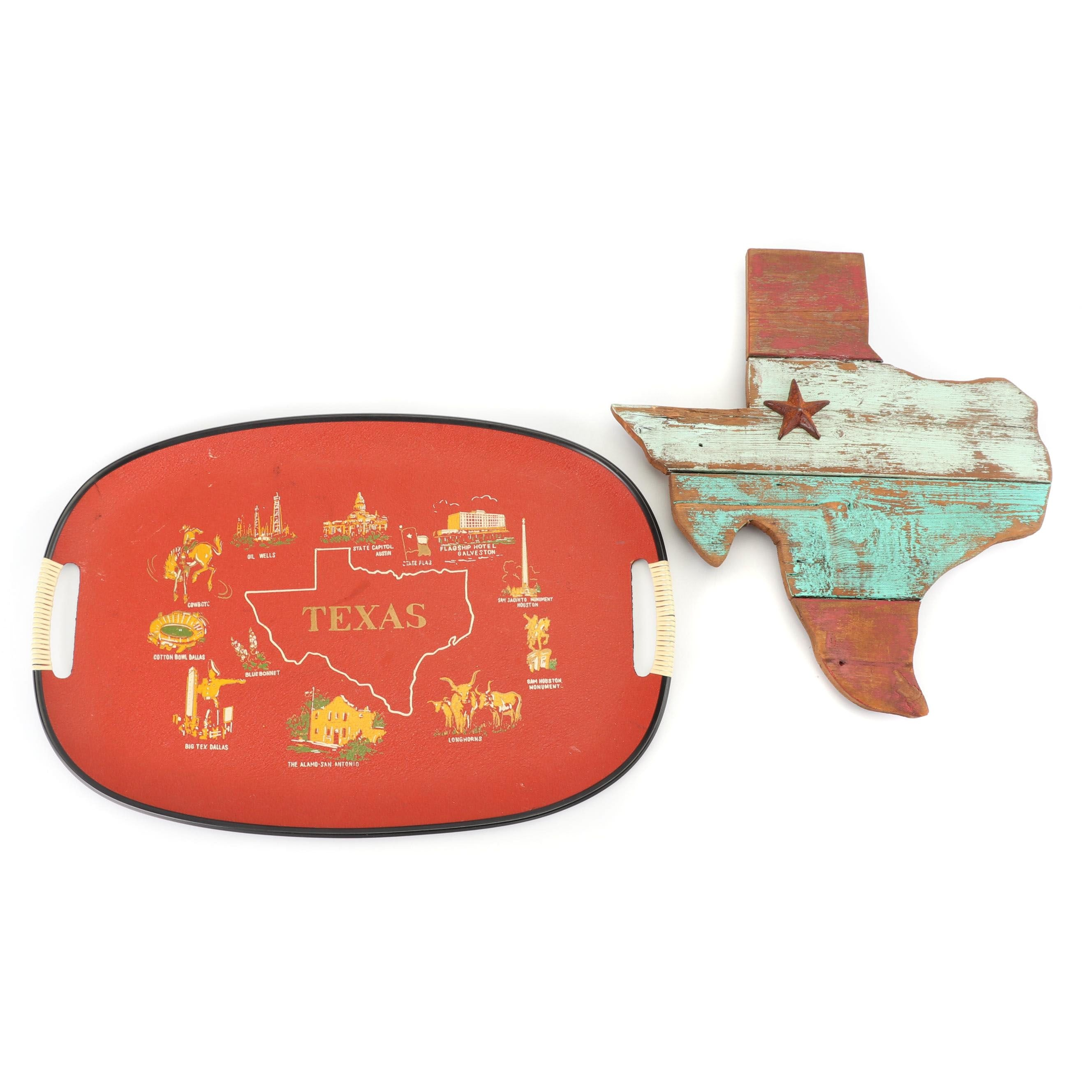 Texas Themed Handled Tray and Wall Hanging