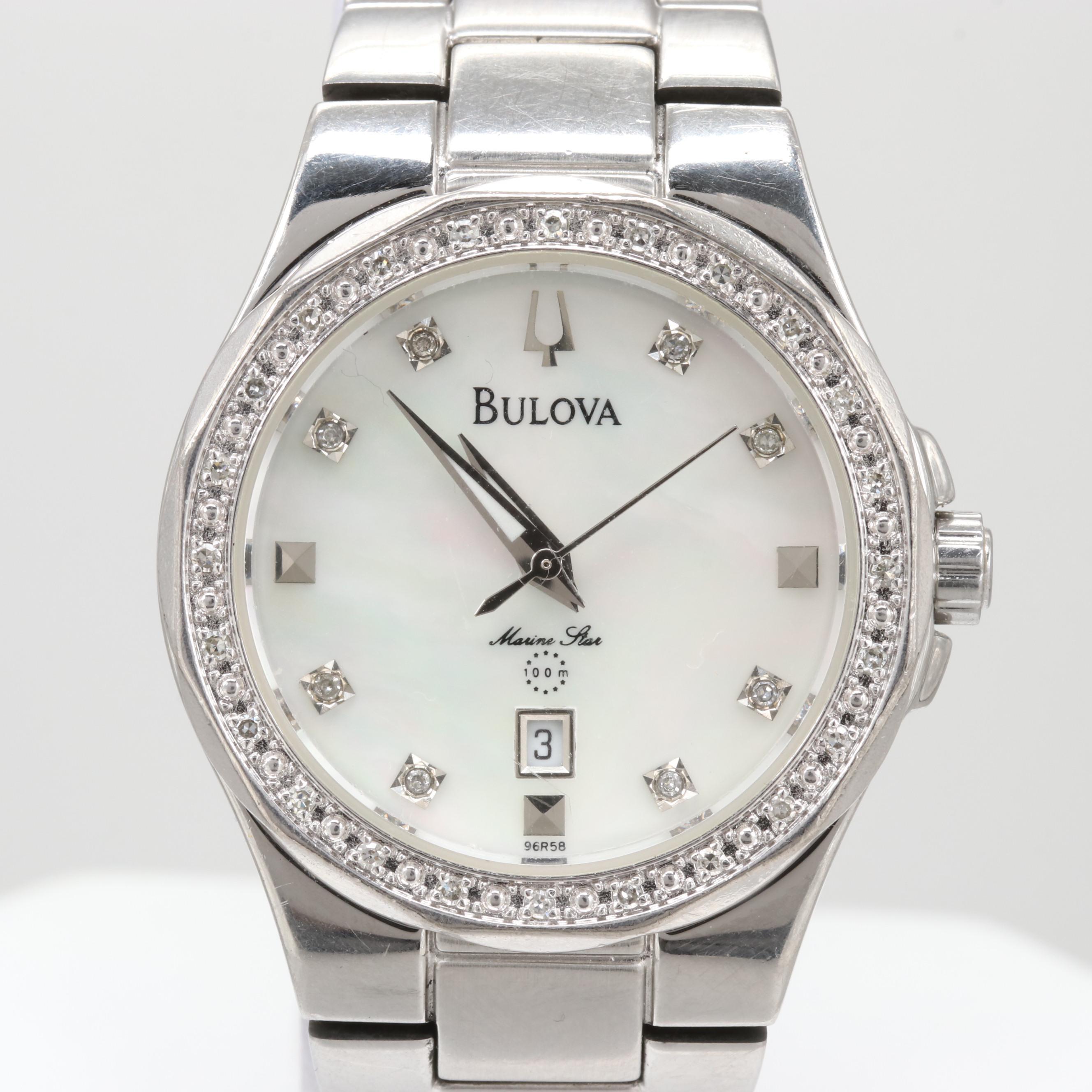 Bulova Marine Star Diamond and Mother of Pearl Wristwatch