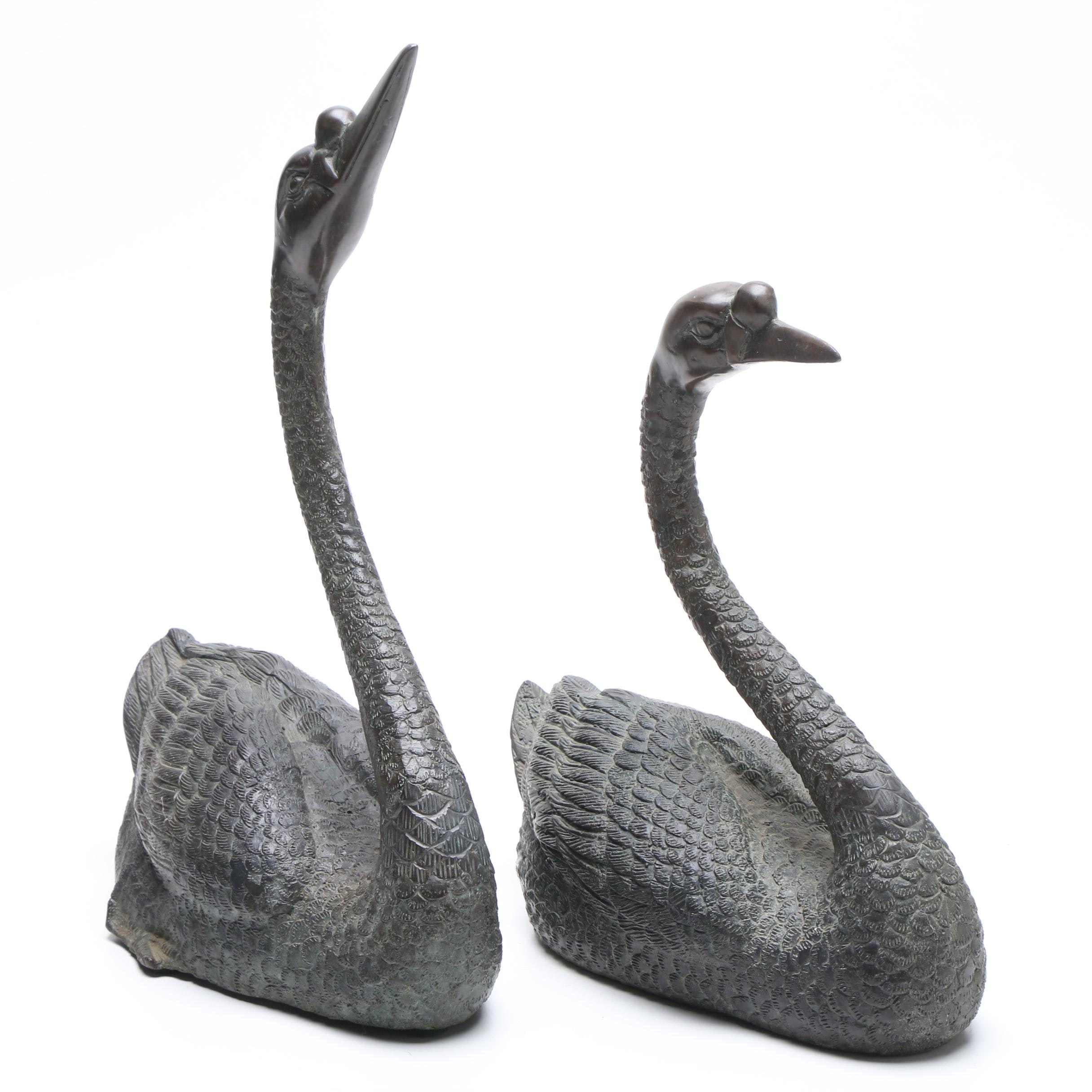 Maitland-Smith Bronze Swan Statues