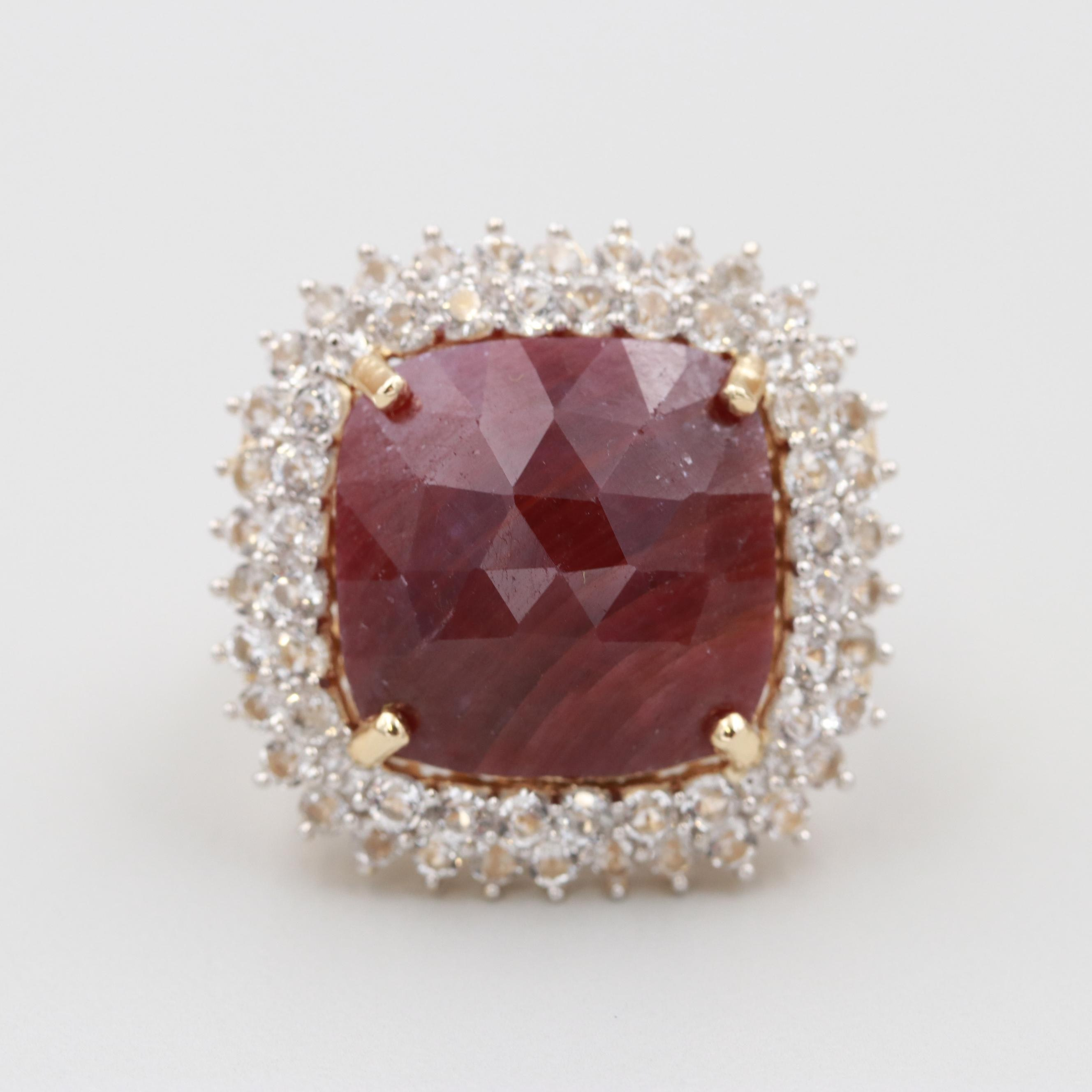 Gold Wash on Sterling Silver Ruby and White Topaz Ring