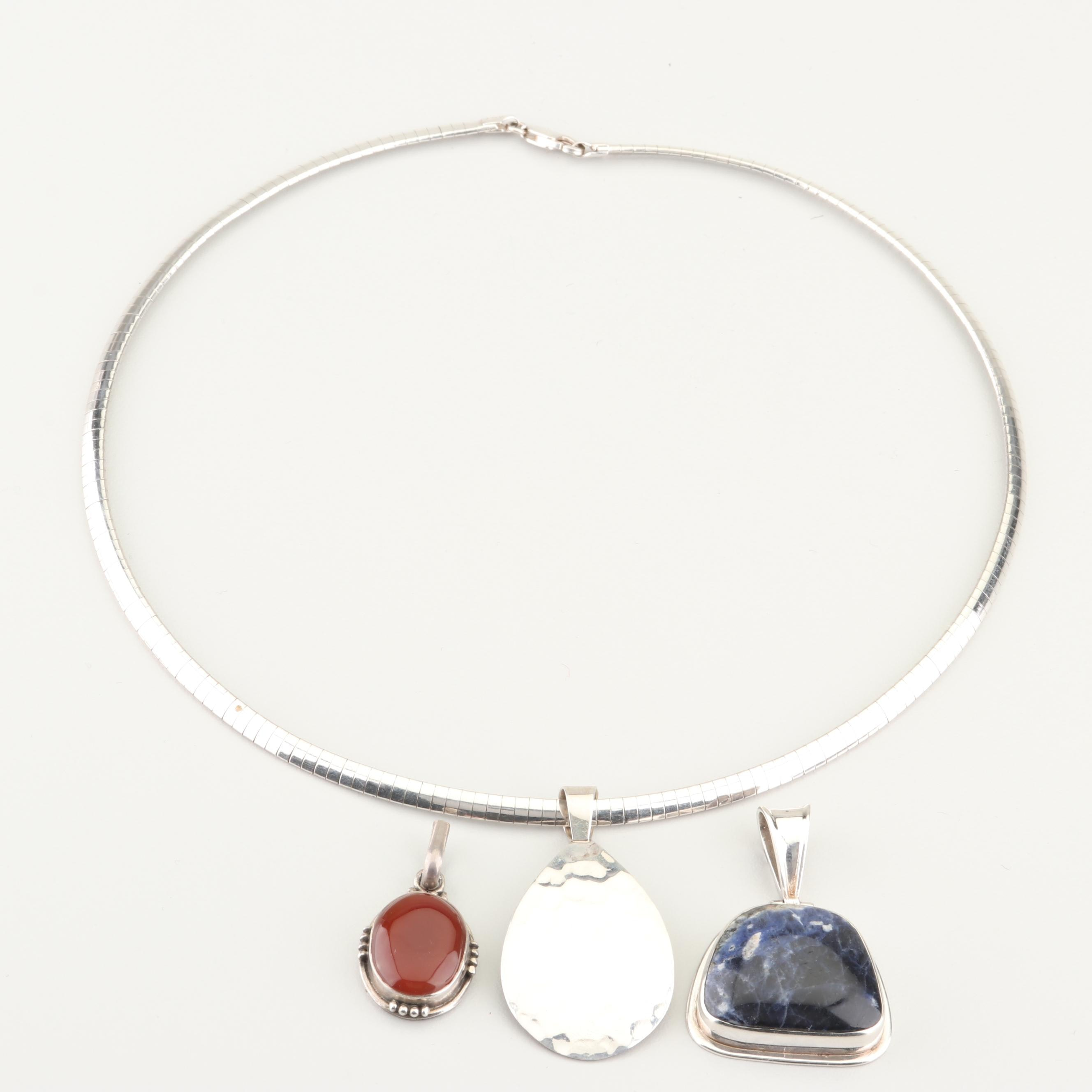 Sterling Silver, Sodalite, and Carnelian Pendants with Chain Necklace
