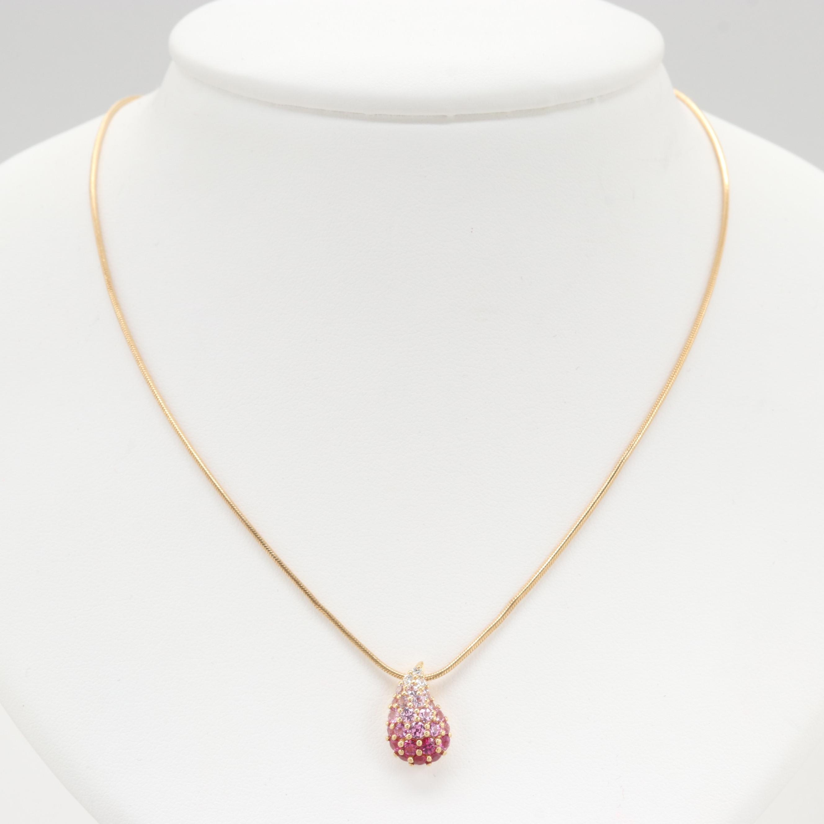 18K Yellow Gold Graduated Pink Sapphire Necklace