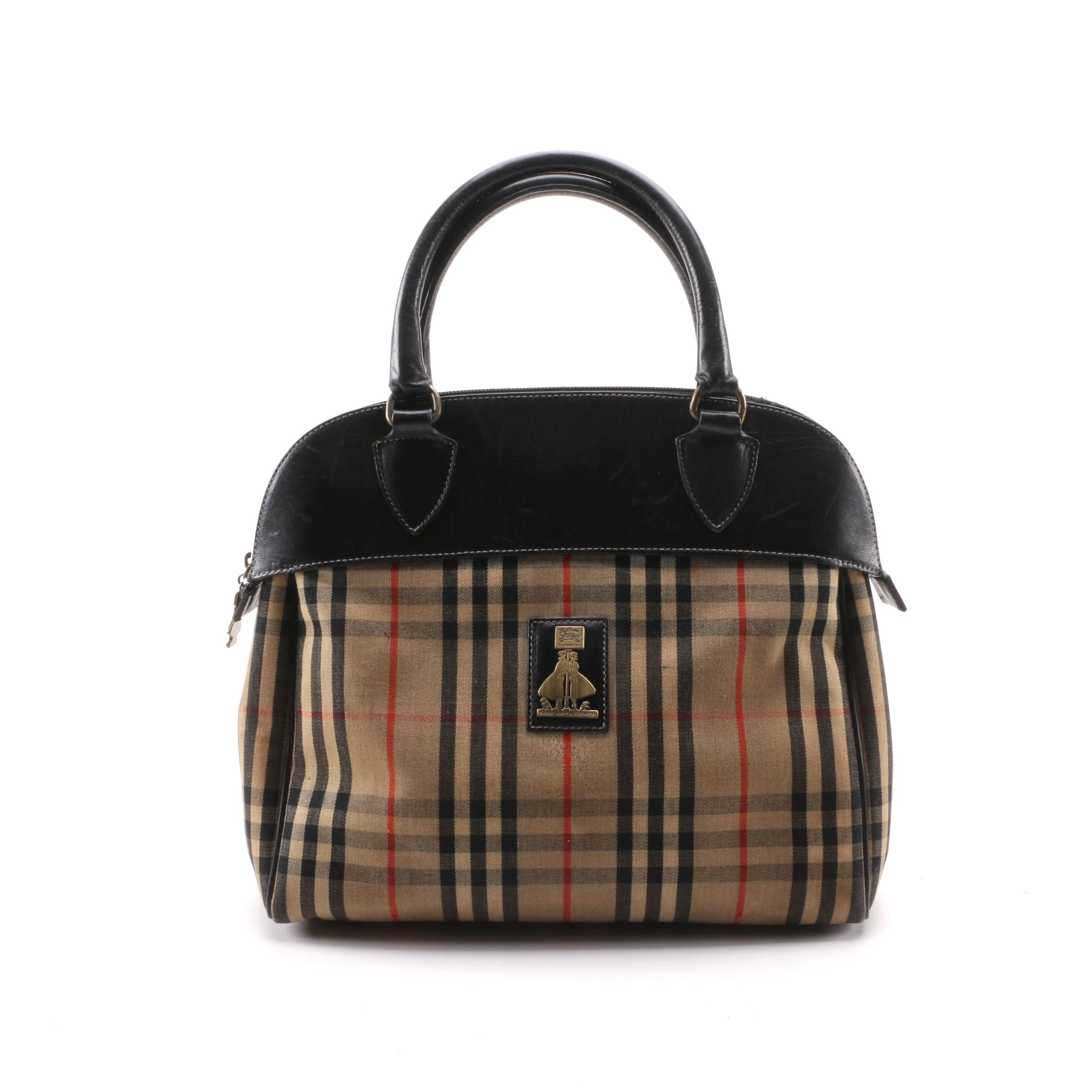 1990s Vintage Burberrys Knights Check Canvas and Leather Satchel