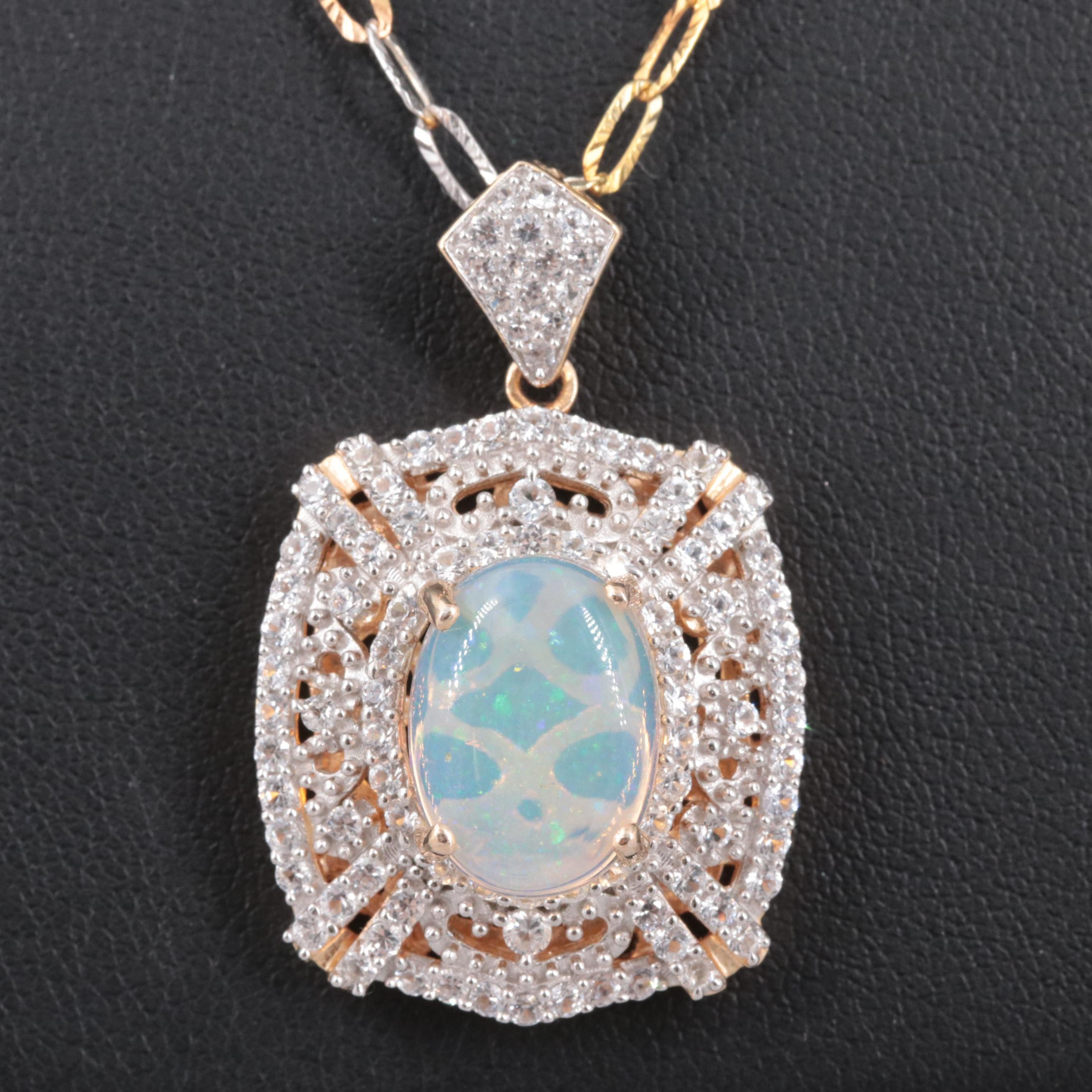 Gold Wash on Sterling Silver Opal and White Sapphire Necklace
