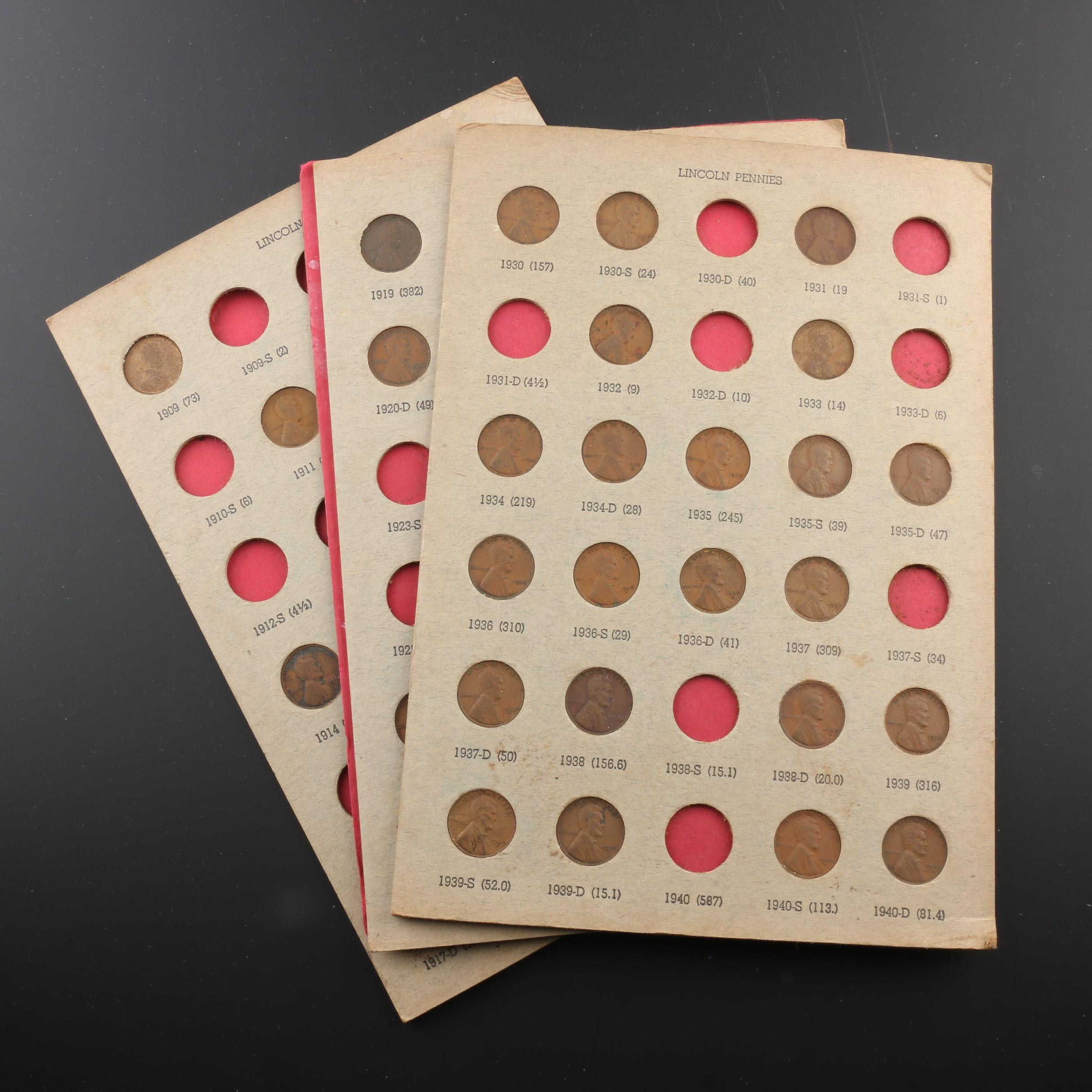 Group of Three Album Pages of Lincoln Wheat Cents, 1909 to 1940