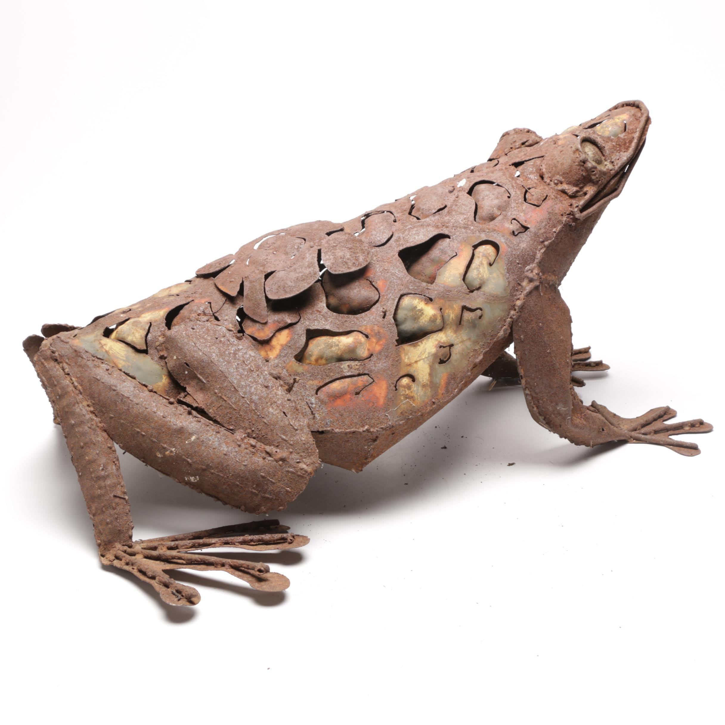 Rustic Metal Frog Figure