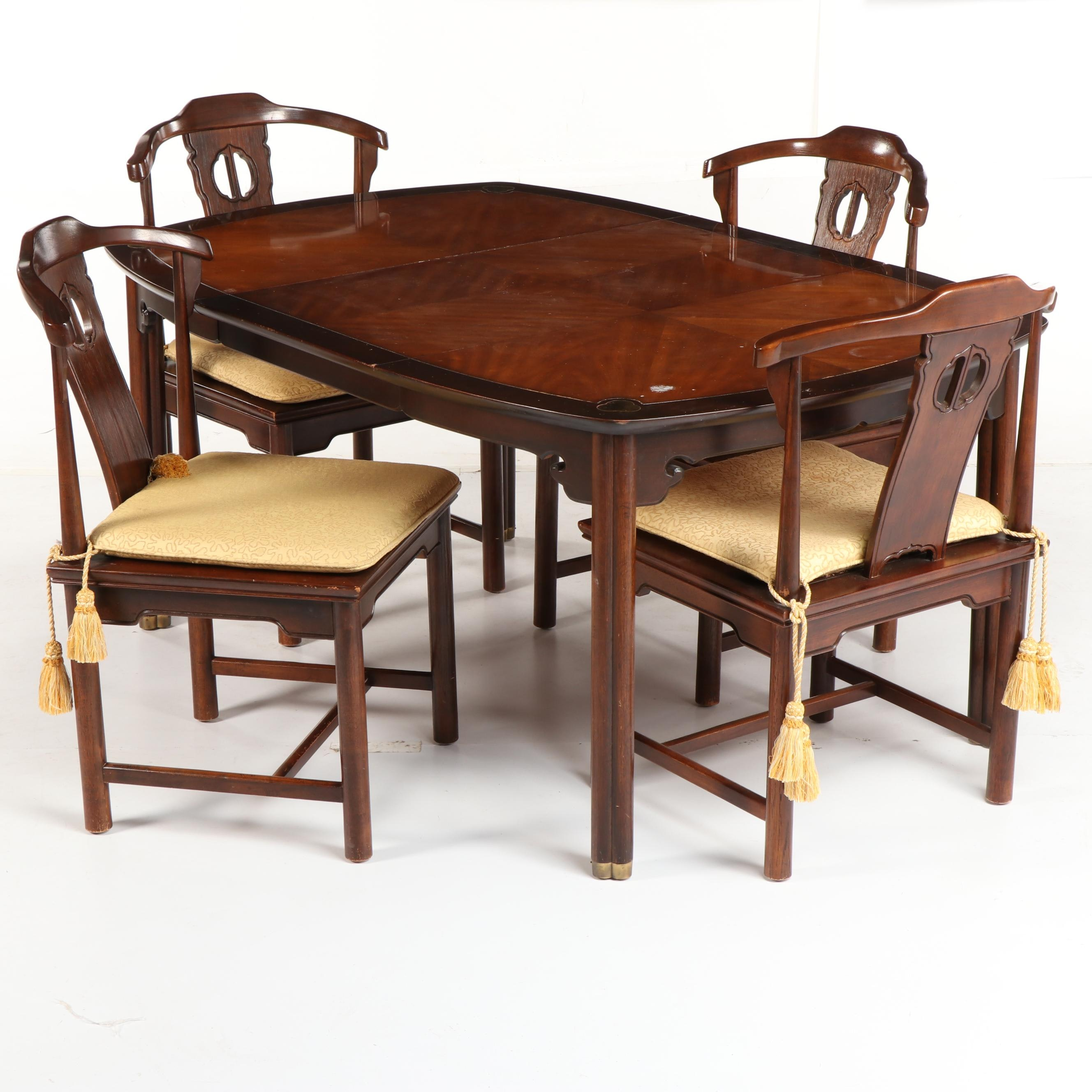 """Tai Ming"" Dining Table with Yoke Back Chairs by Drexel, Mid-20th Century"