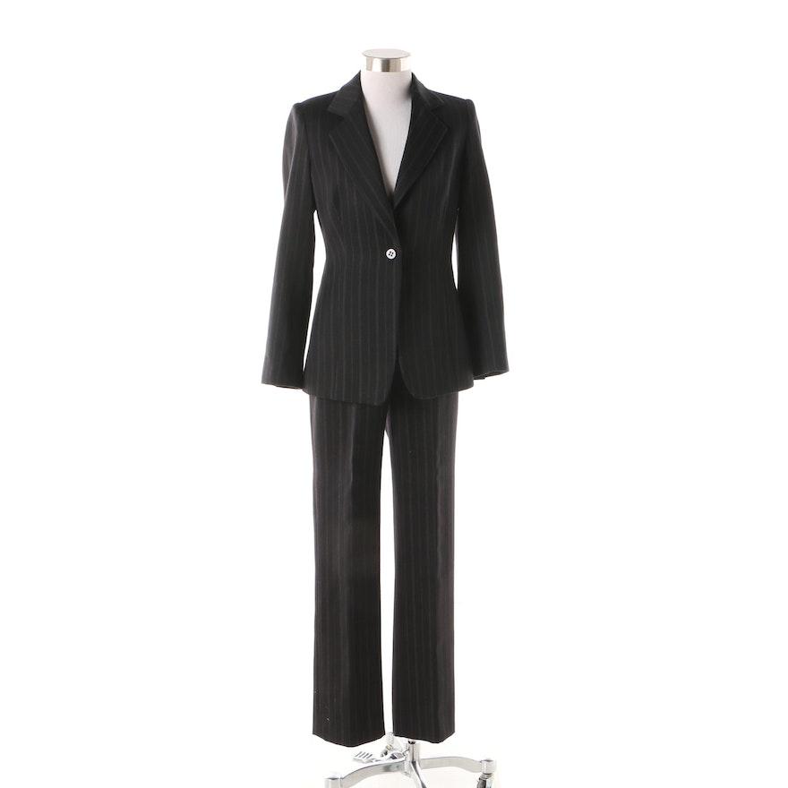 603b862e3e57 Women's Armani Collezioni Black Wool Pinstripe Suit : EBTH