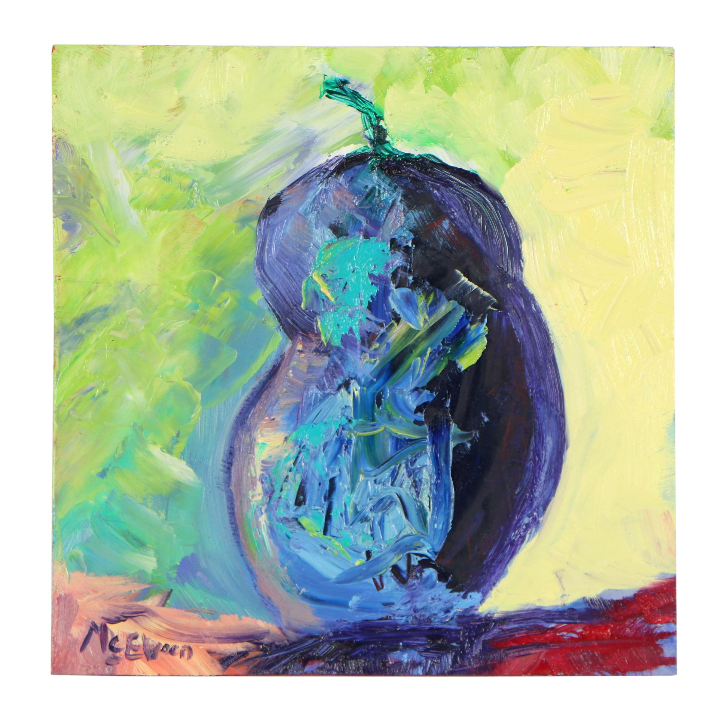 "Claire McElveen Oil Painting ""Eggplant Abstract"""