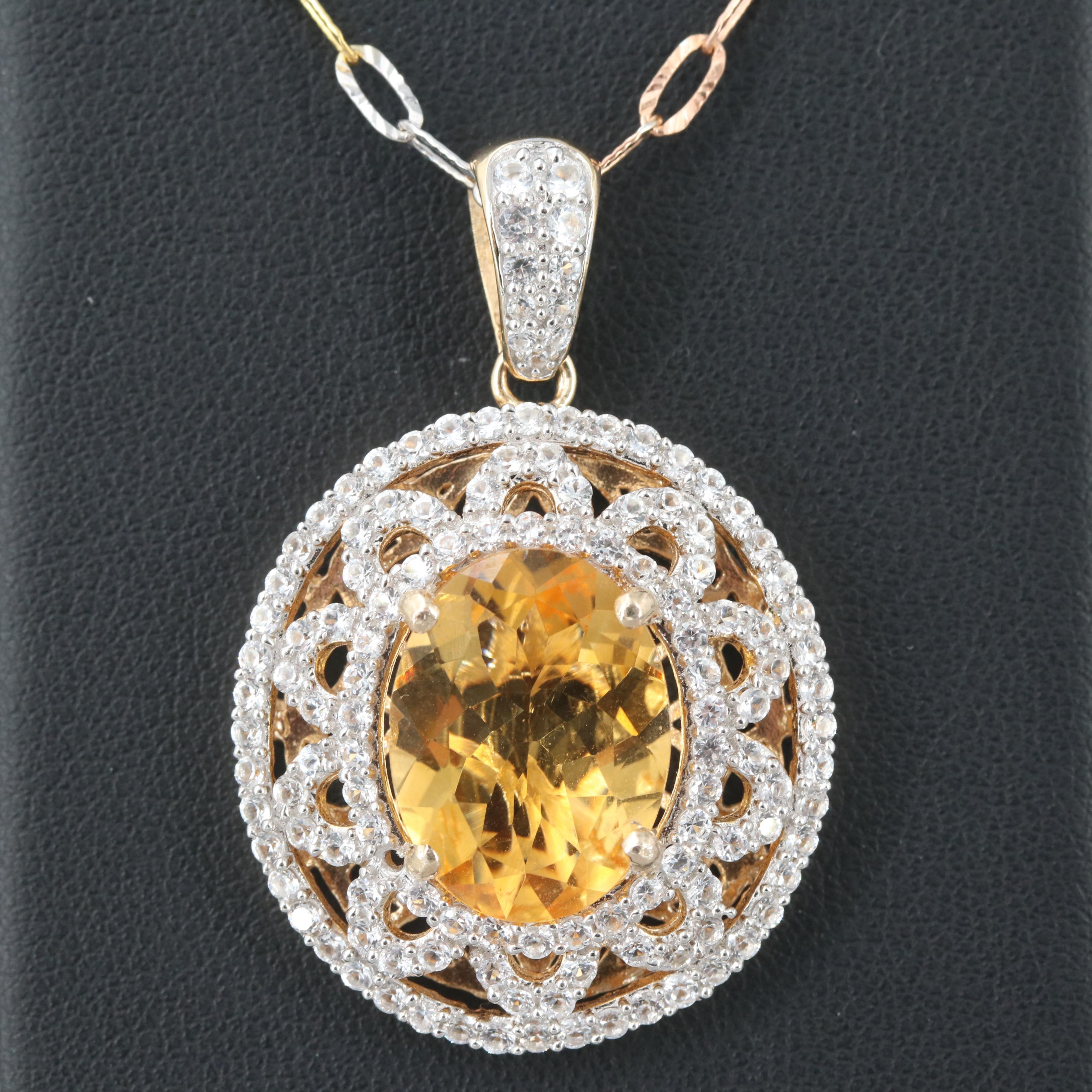 Gold Wash on Sterling Silver Citrine and White Sapphire Pendant Necklace
