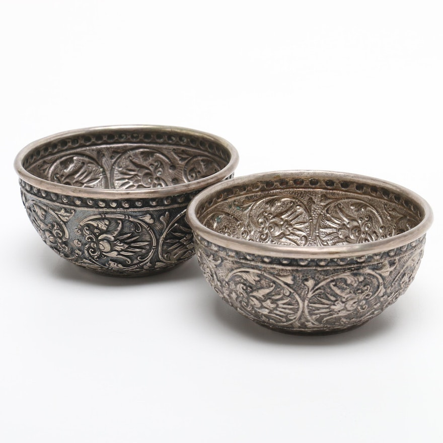 Vintage Tibetan Hand Chased Silver Plate Bowl with Lotus Decoration