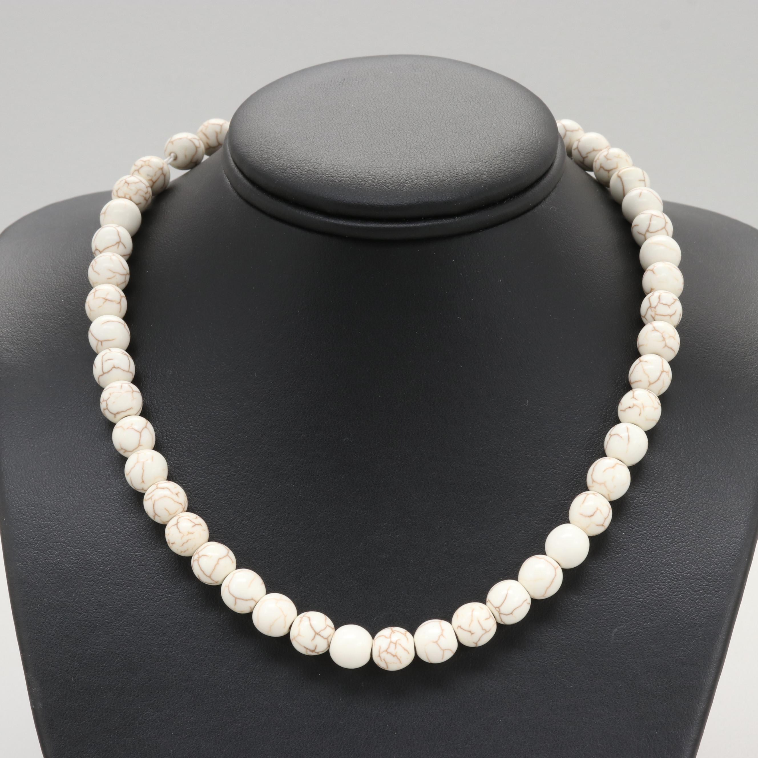 14K Yellow Gold Clasped Magnesite Necklace