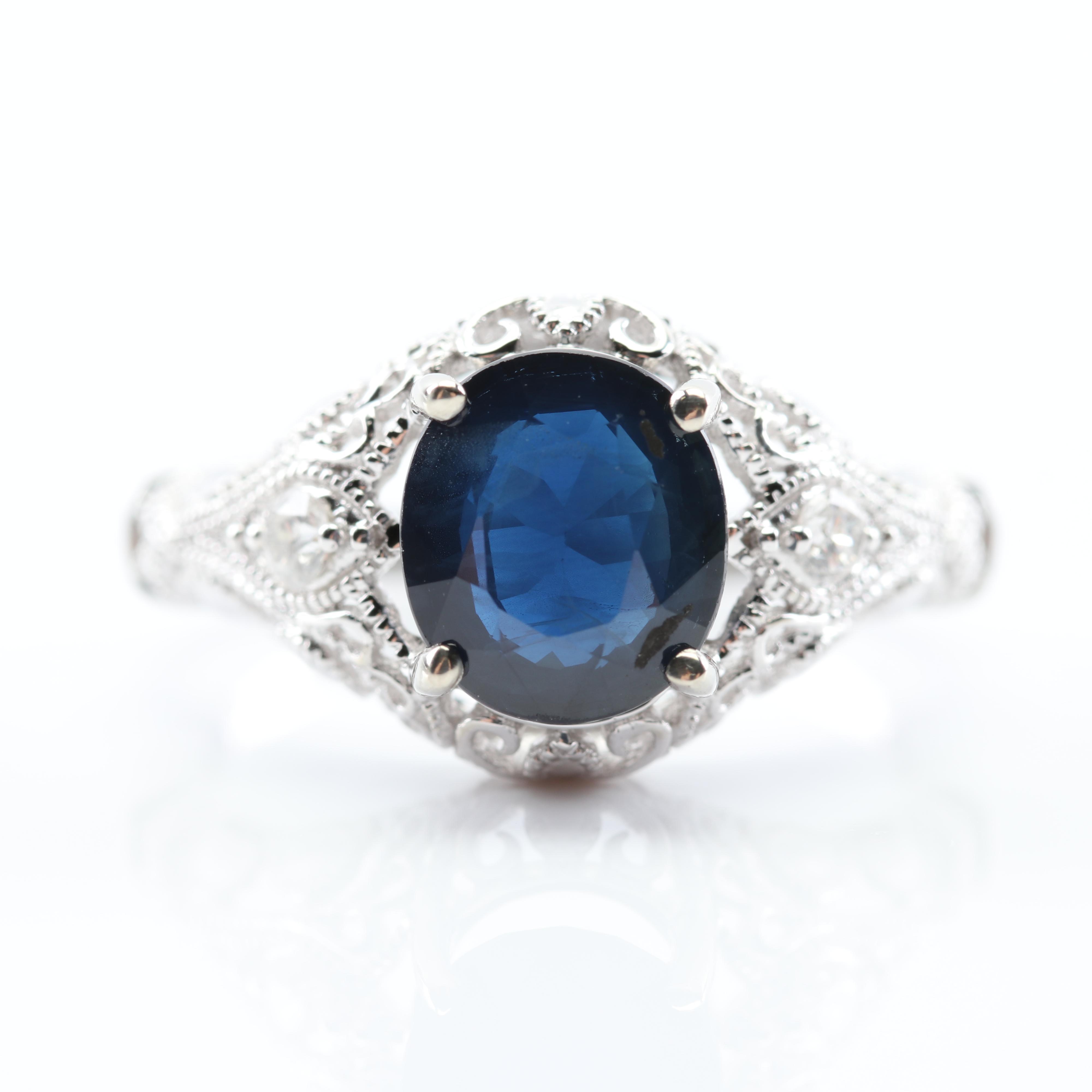 14K White Gold 2.52 CT Sapphire and Diamond Ring